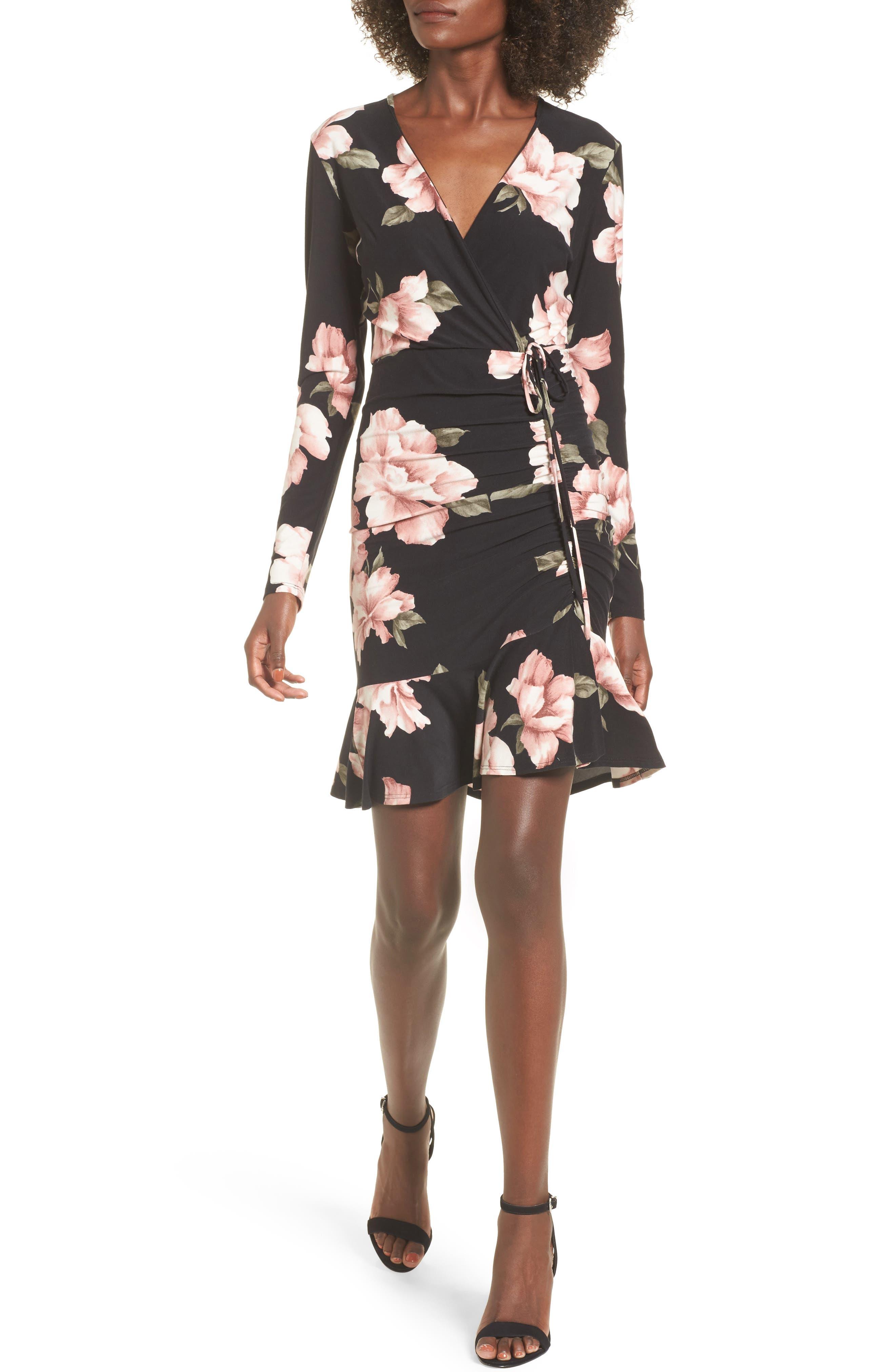 Ruched Surplice Dress,                             Main thumbnail 1, color,                             004