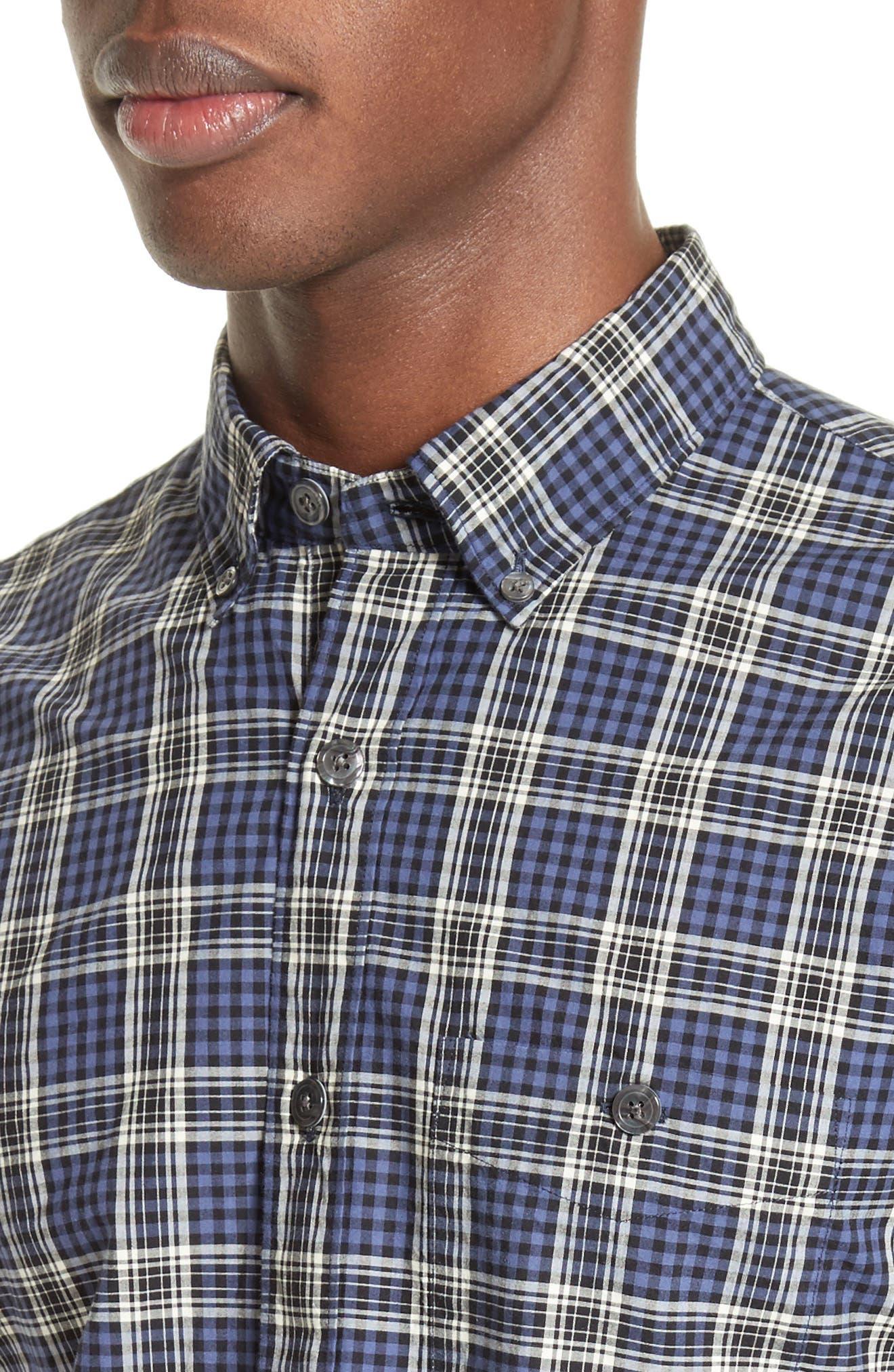 Trim Fit Plaid Sport Shirt,                             Alternate thumbnail 4, color,                             400