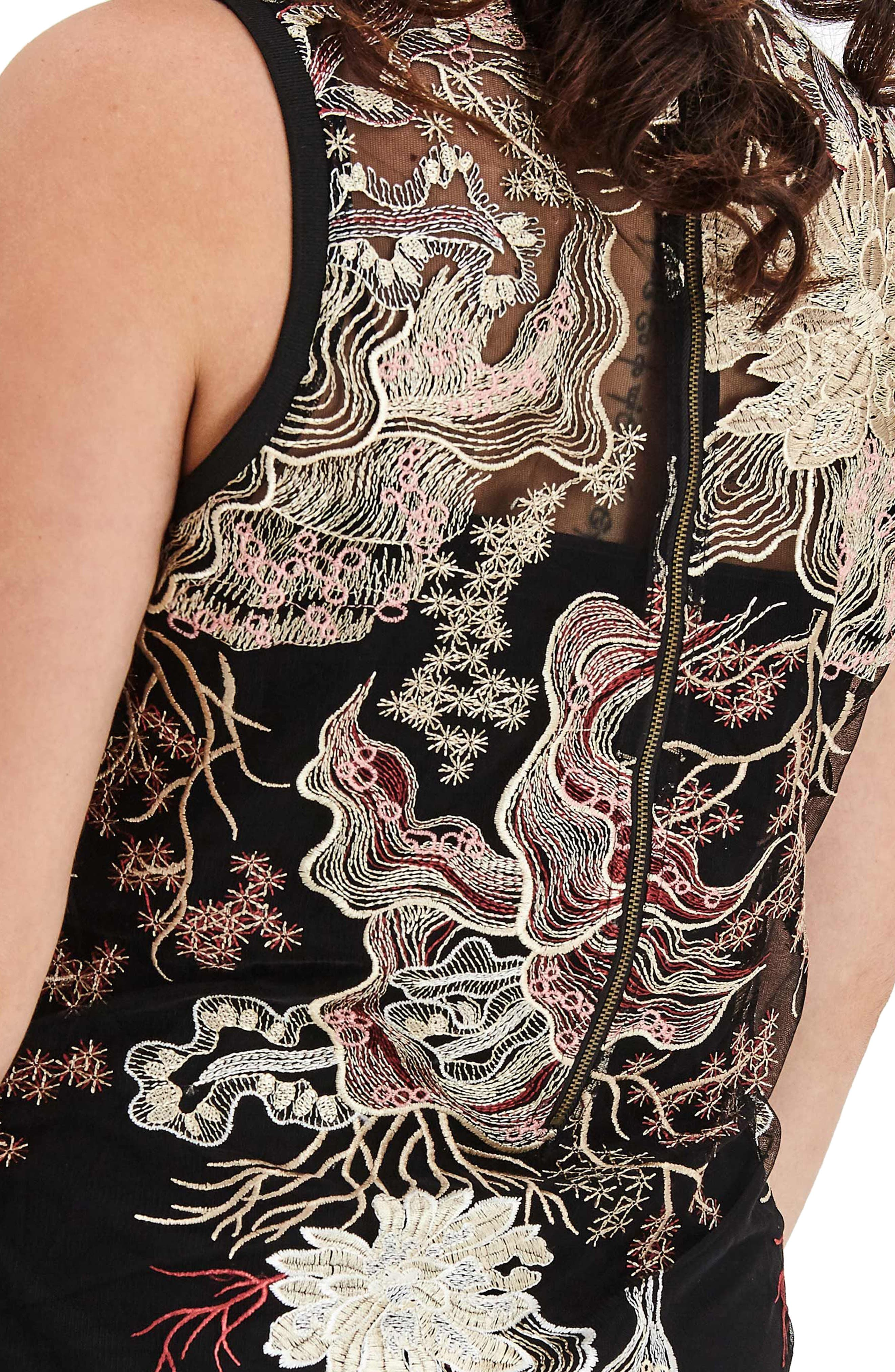 Embroidered Mesh Tunic Dress,                             Alternate thumbnail 4, color,                             011