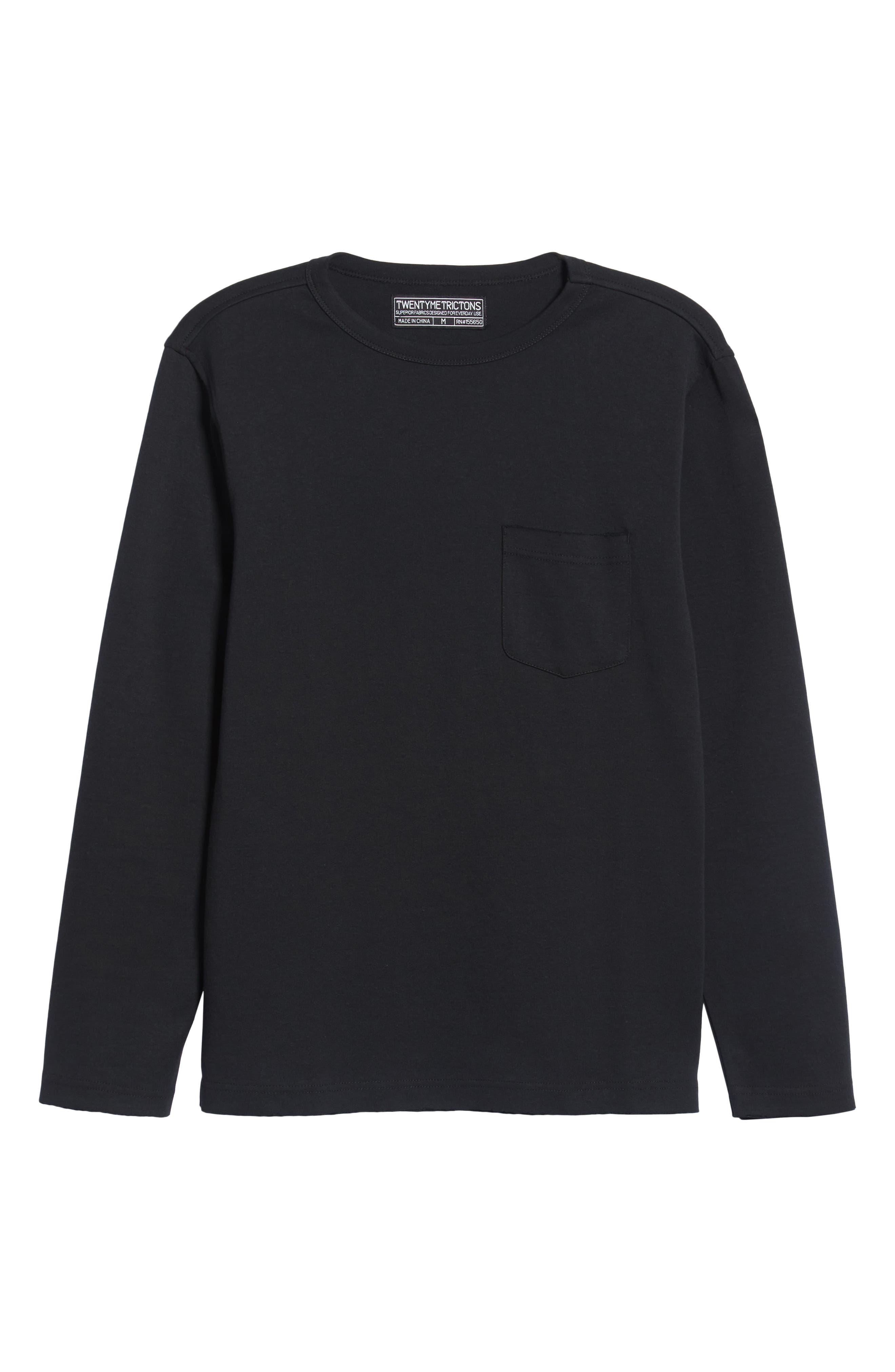 Trim Fit Long Sleeve Pocket T-Shirt,                             Alternate thumbnail 6, color,                             BLACK