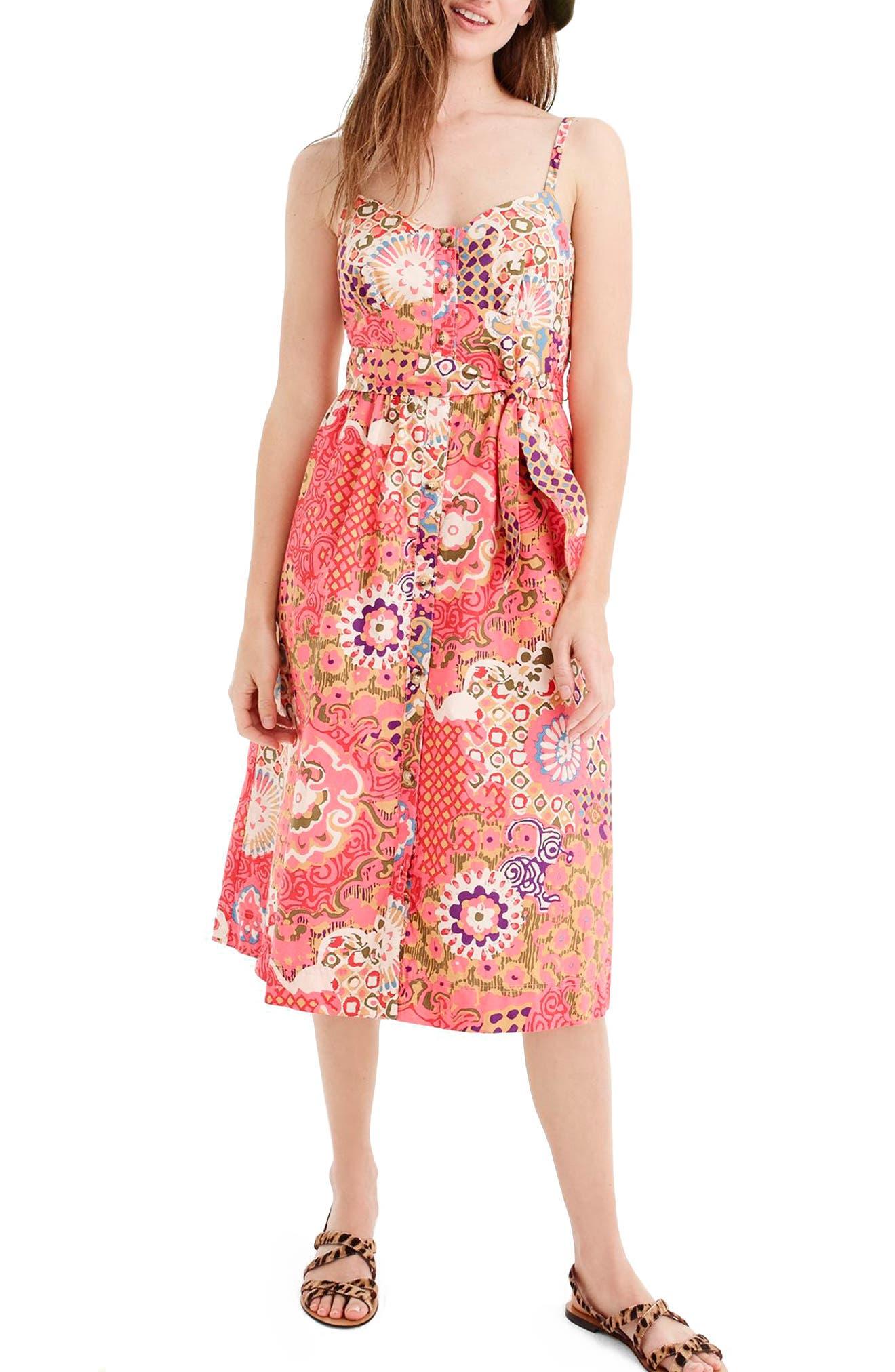 Classic Button Front Poplin Sundress,                         Main,                         color, VIBRANT ROSE