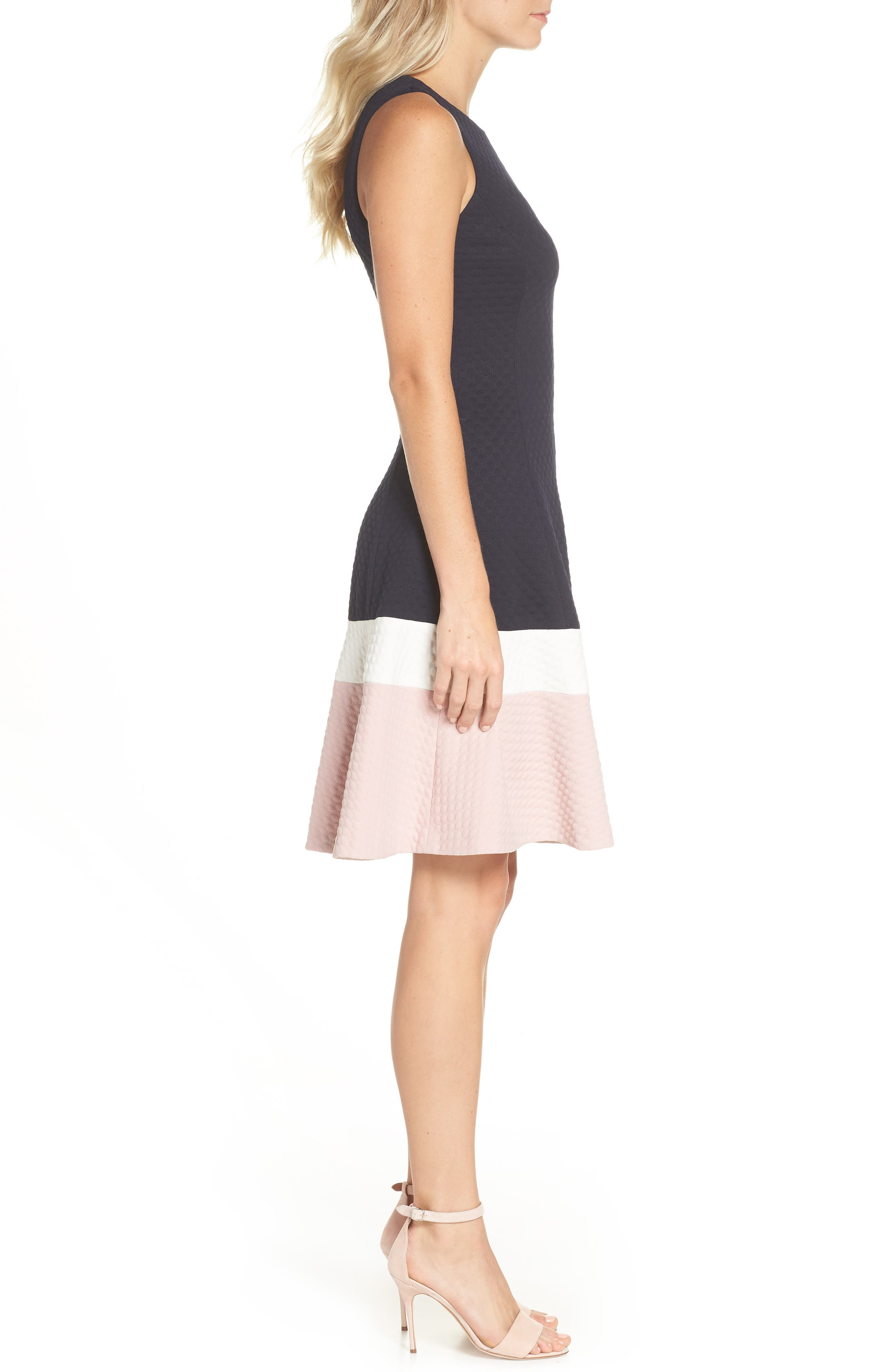 Colorblock Texture Knit Fit & Flare Dress,                             Alternate thumbnail 3, color,                             NAVY/ IVORY/ BLUSH