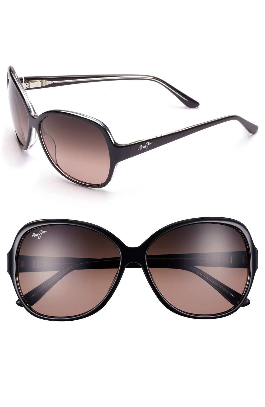 Maile 60mm PolarizedPlus<sup>®</sup> Sunglasses,                         Main,                         color, BLACK/ CRYSTAL