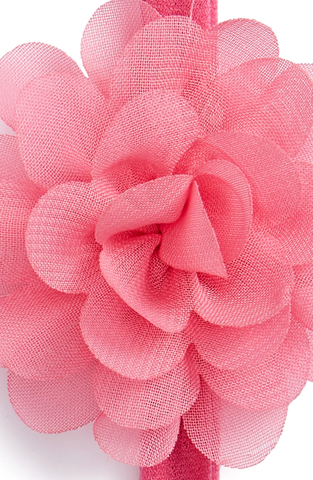 BABY BLING,                             Set of 2 Mini Flower Headbands,                             Alternate thumbnail 2, color,                             WHITE/ HOT PINK