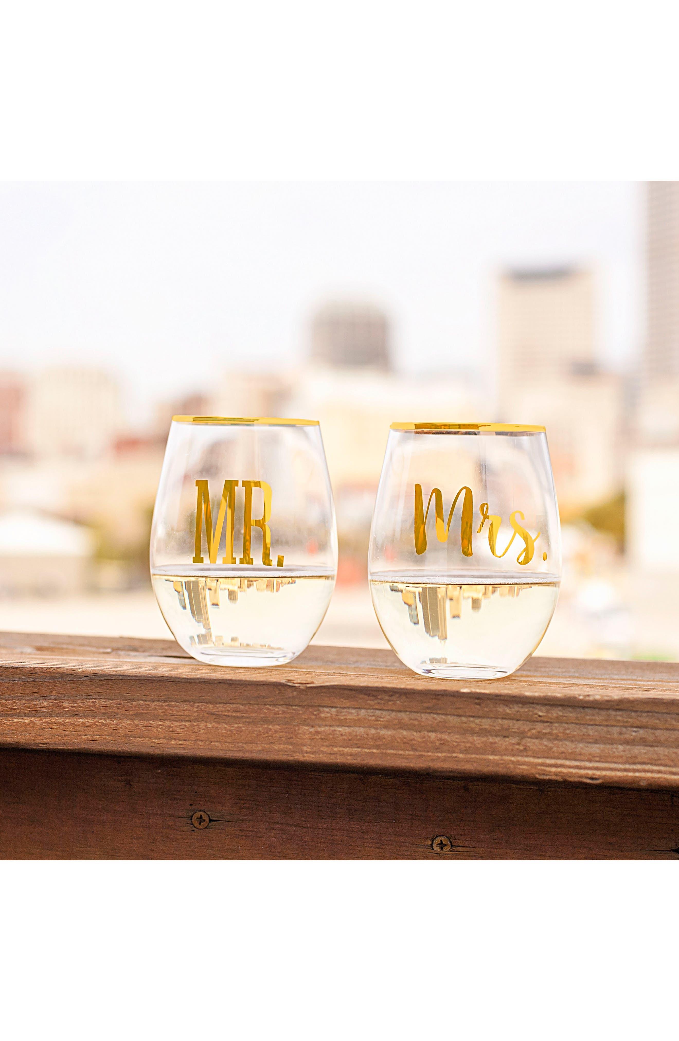 Mr. & Mrs. Set of 2 Stemless Wine Glasses,                             Alternate thumbnail 2, color,                             710