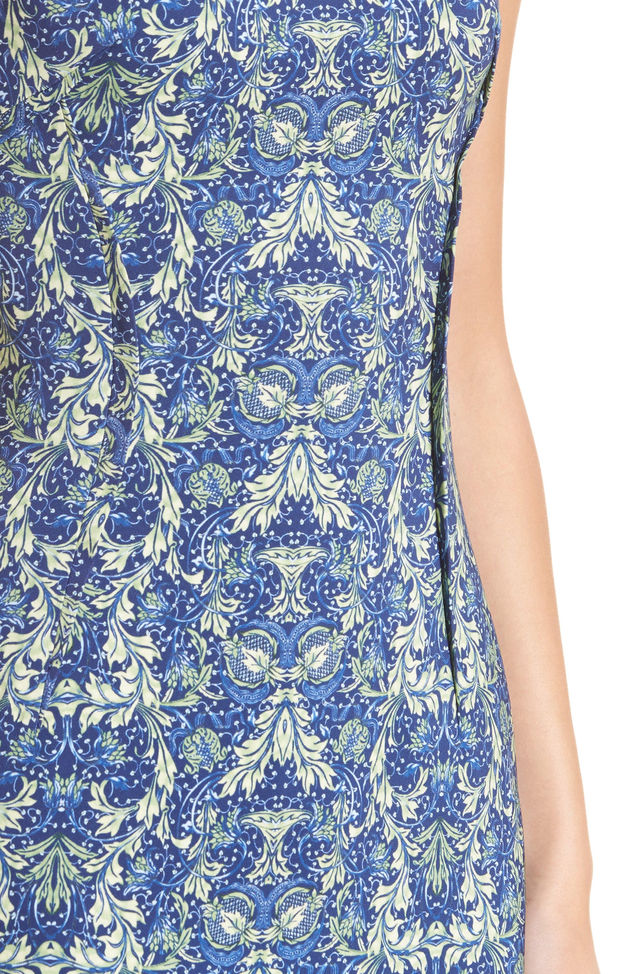 Acanthus Print Sheath Dress,                             Alternate thumbnail 4, color,                             430