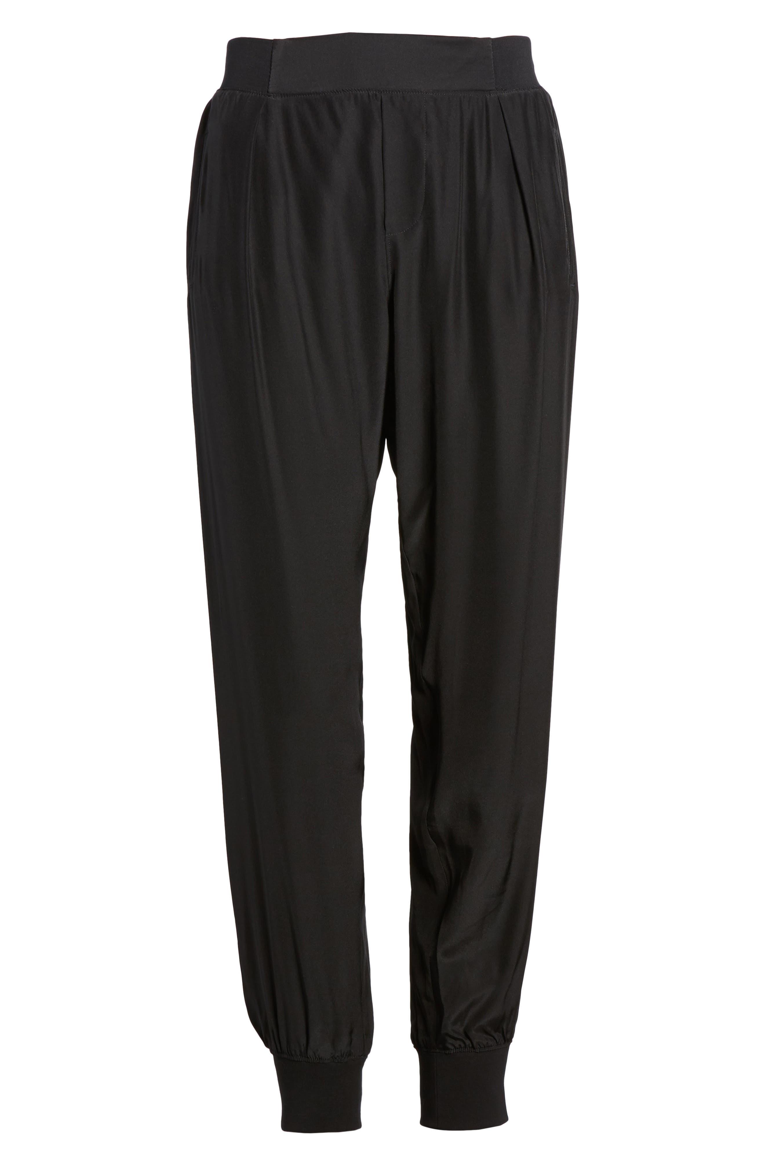 Silk Jogger Pants,                             Main thumbnail 1, color,                             001