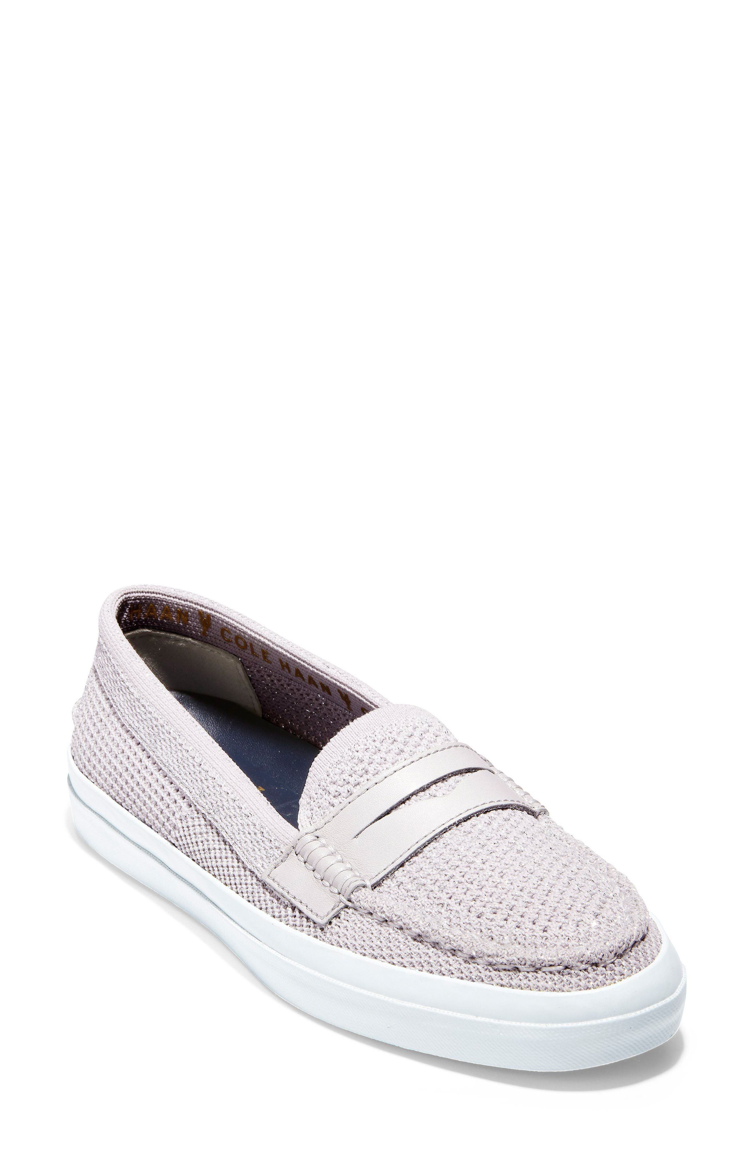 Pinch Stitchlite<sup>™</sup> Loafer,                         Main,                         color, SILVER/ WHITE LEATHER