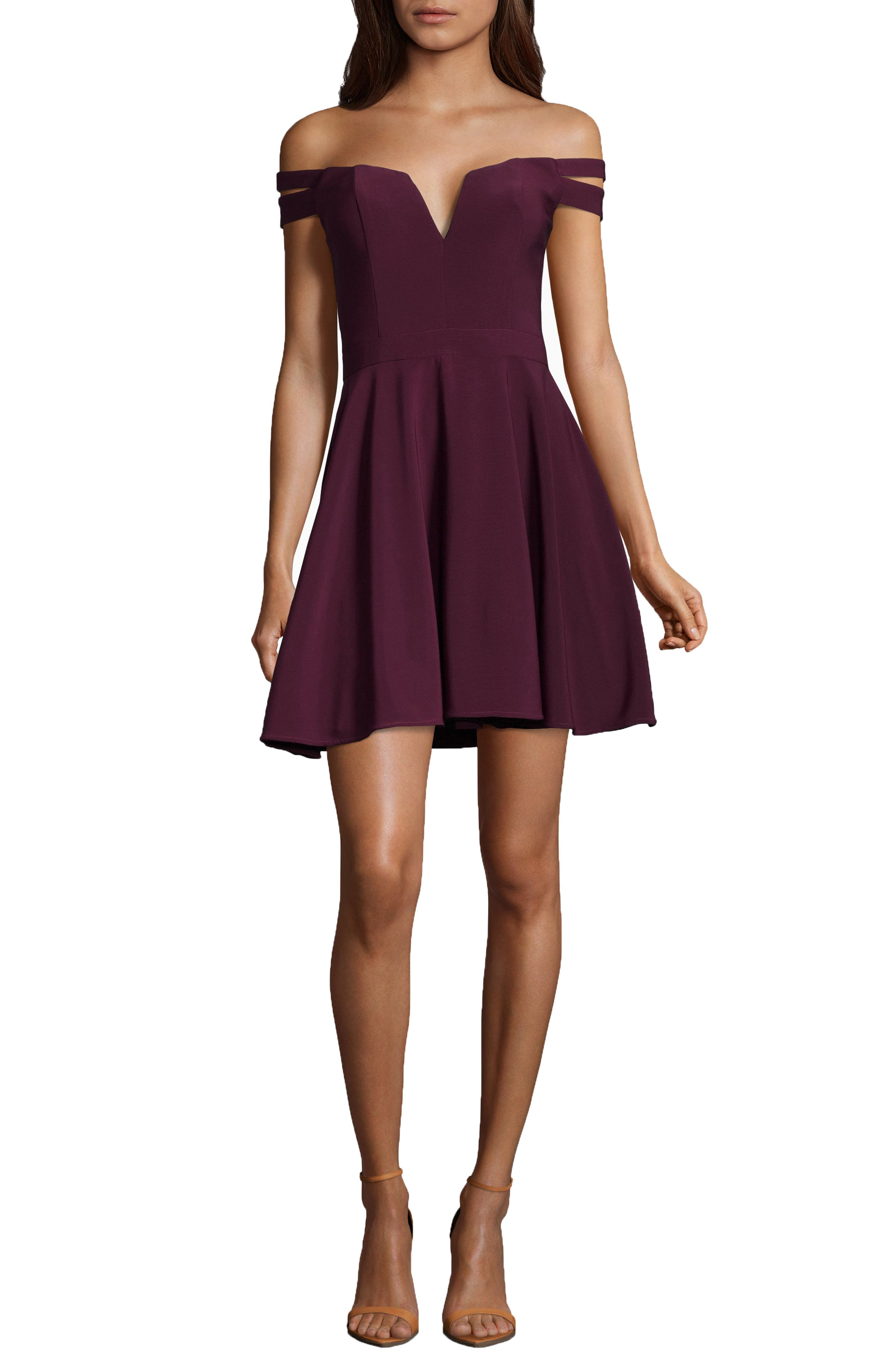 Off the Shoulder Double Strap Party Dress,                         Main,                         color, WINE
