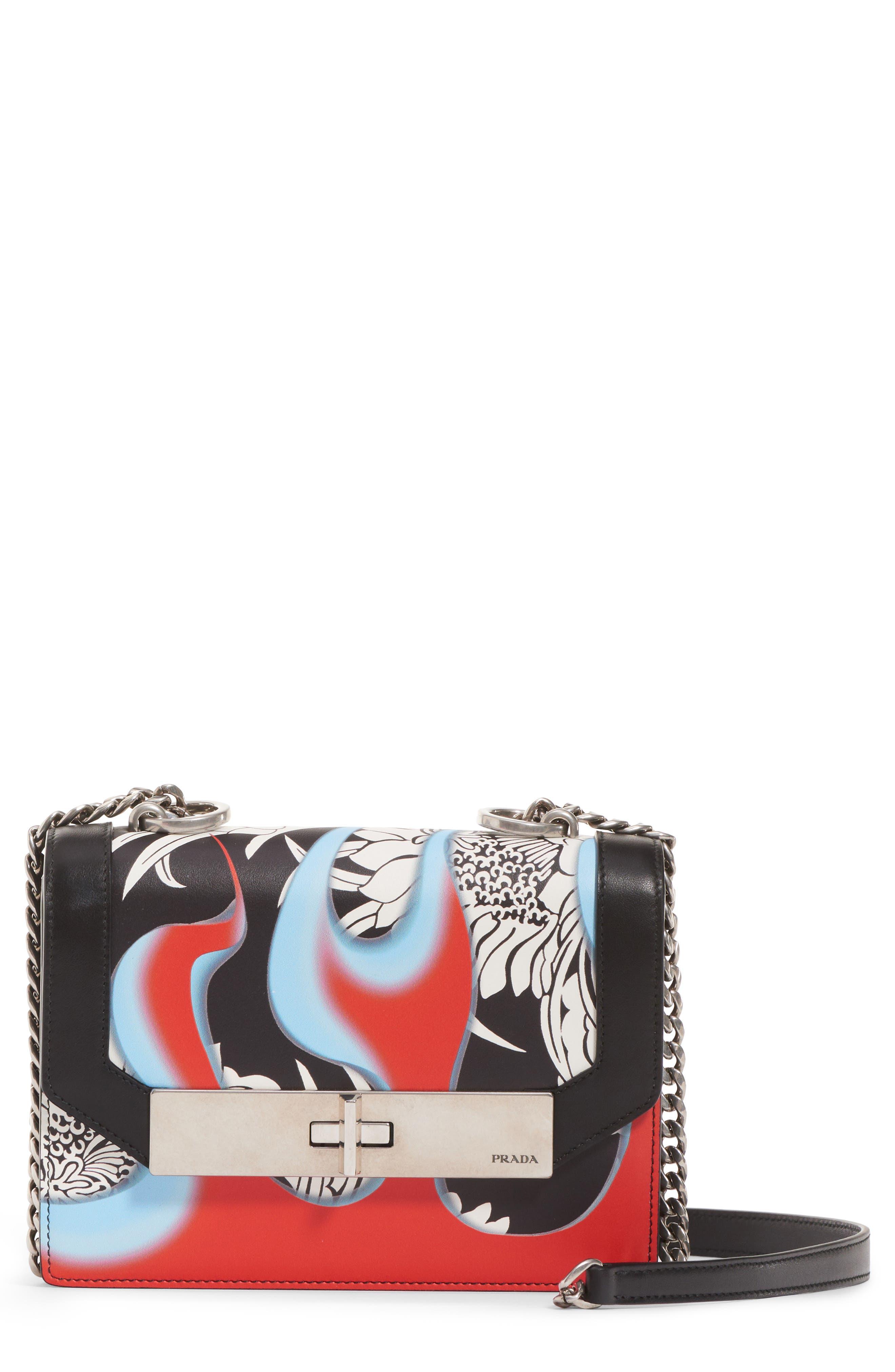 Print Leather Shoulder Bag,                         Main,                         color, NERO/ ROSSO