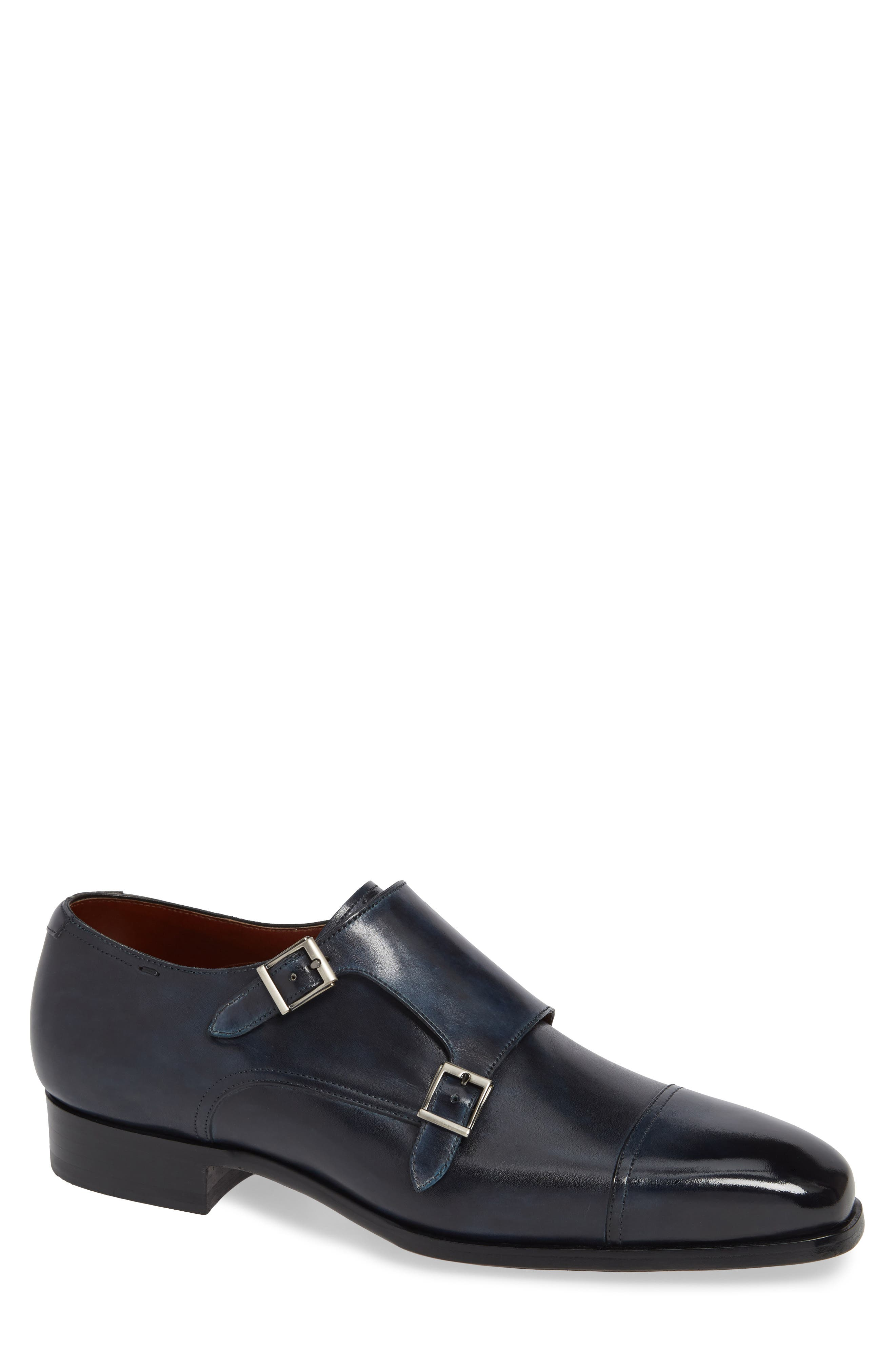 MAGNANNI,                             Wooster Double Monk Strap Shoe,                             Main thumbnail 1, color,                             NAVY LEATHER