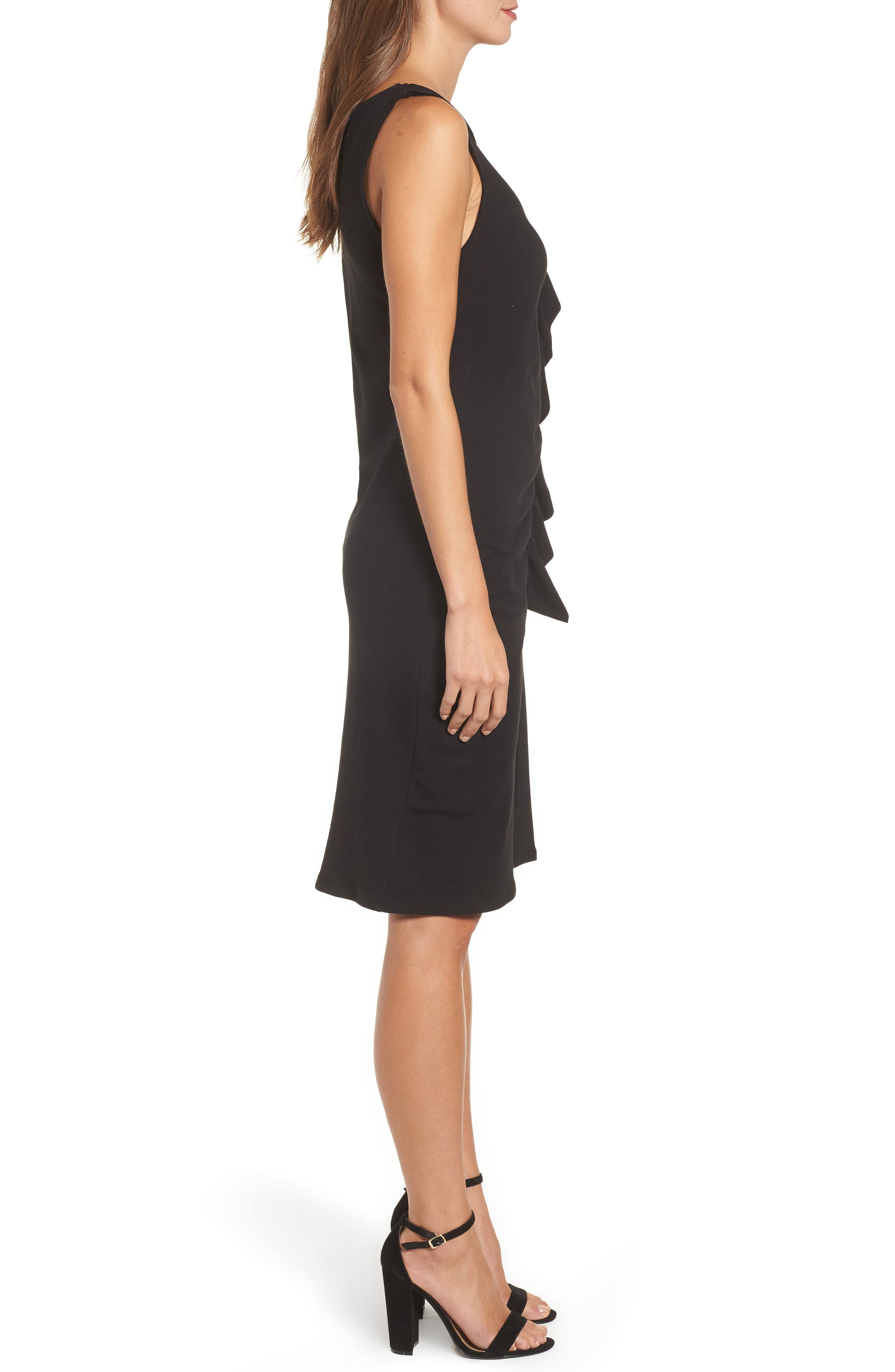 French Terry Ruffle Front Dress,                             Alternate thumbnail 3, color,                             001