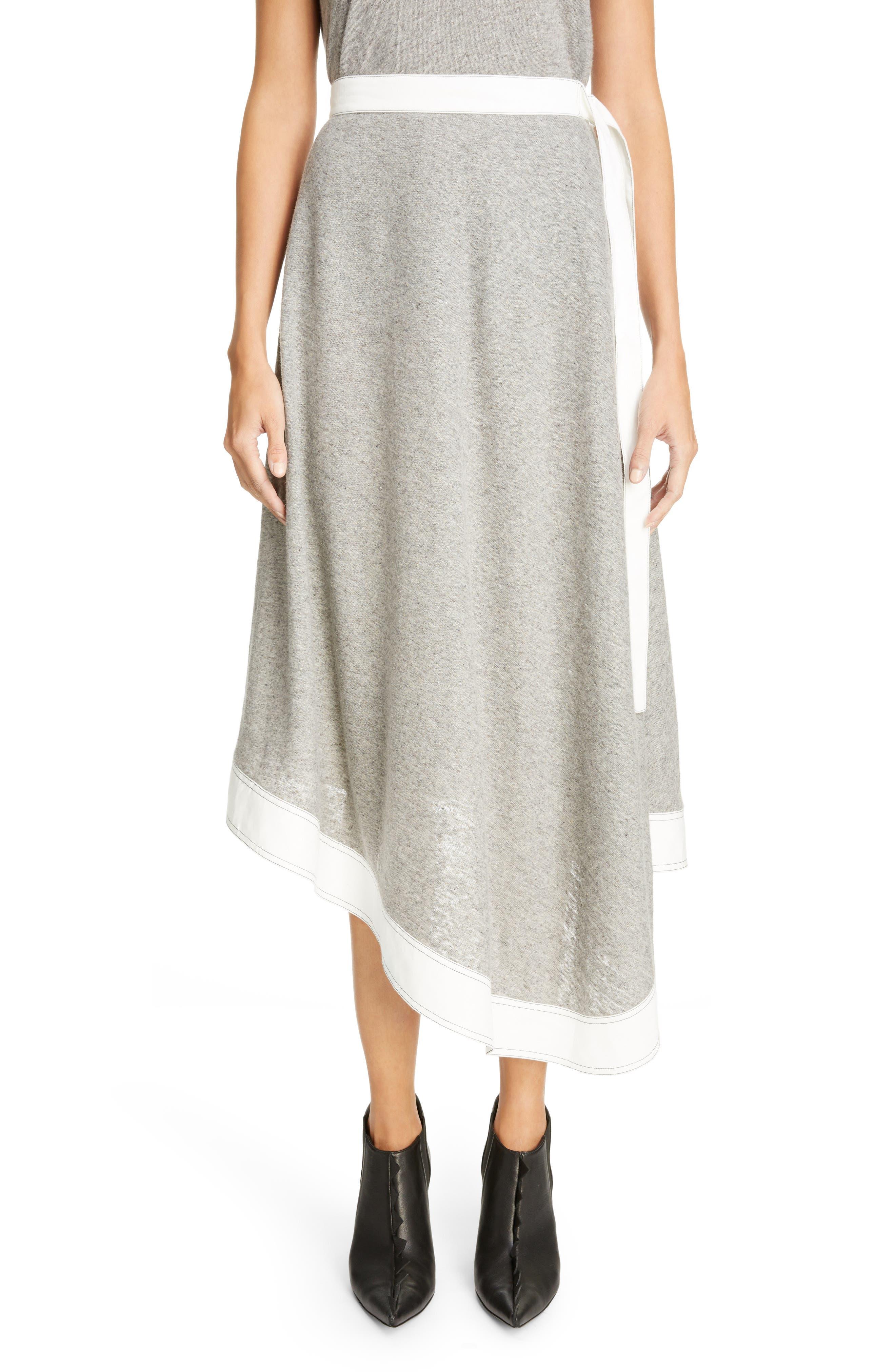 Asymmetrical Linen Blend Skirt,                         Main,                         color,