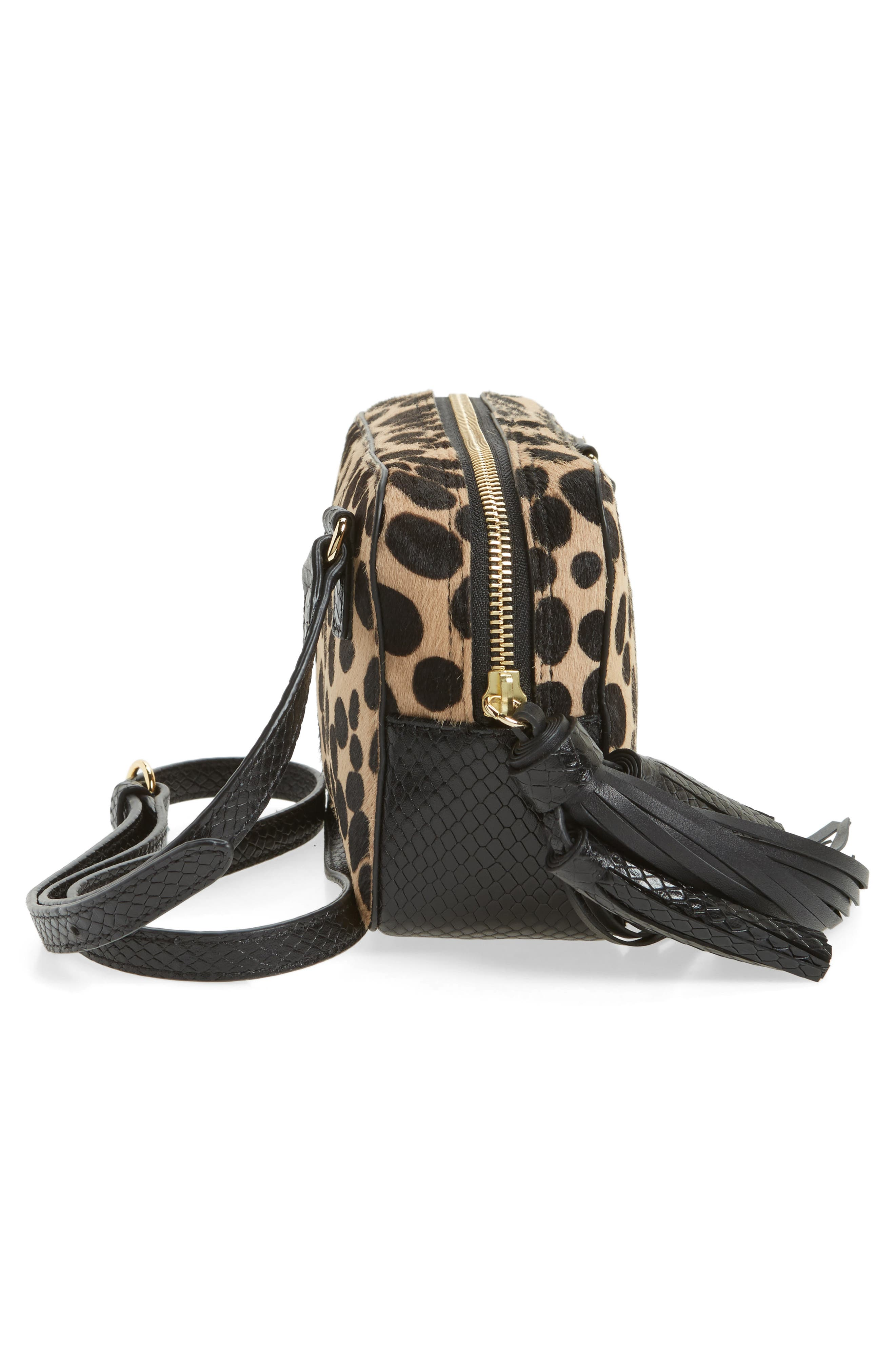 Genuine Calf Hair Crossbody Bag,                             Alternate thumbnail 5, color,                             001