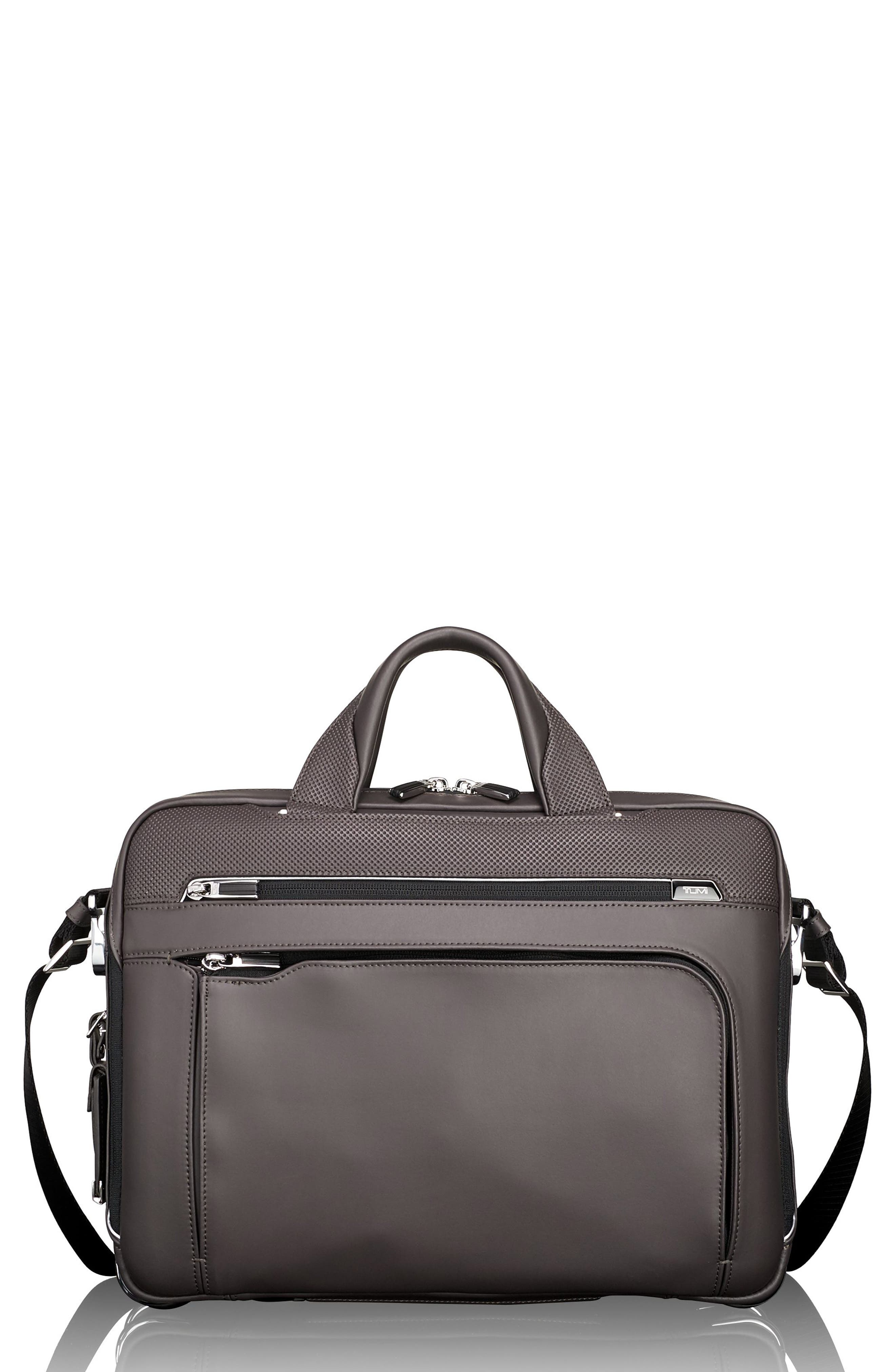 Arrivé - Sawyer Leather Briefcase,                             Main thumbnail 1, color,                             TAUPE