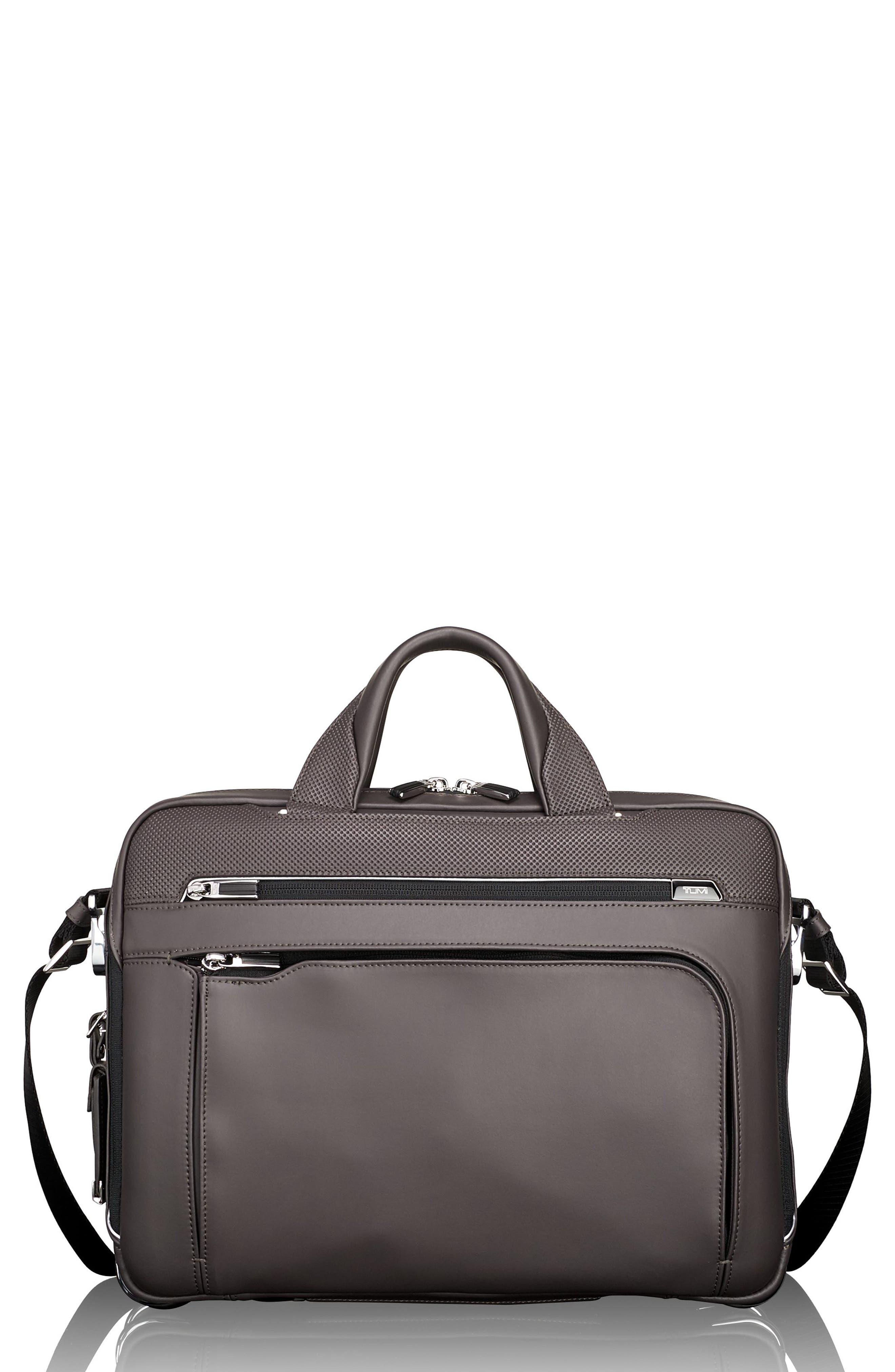 Arrivé - Sawyer Leather Briefcase,                         Main,                         color, TAUPE