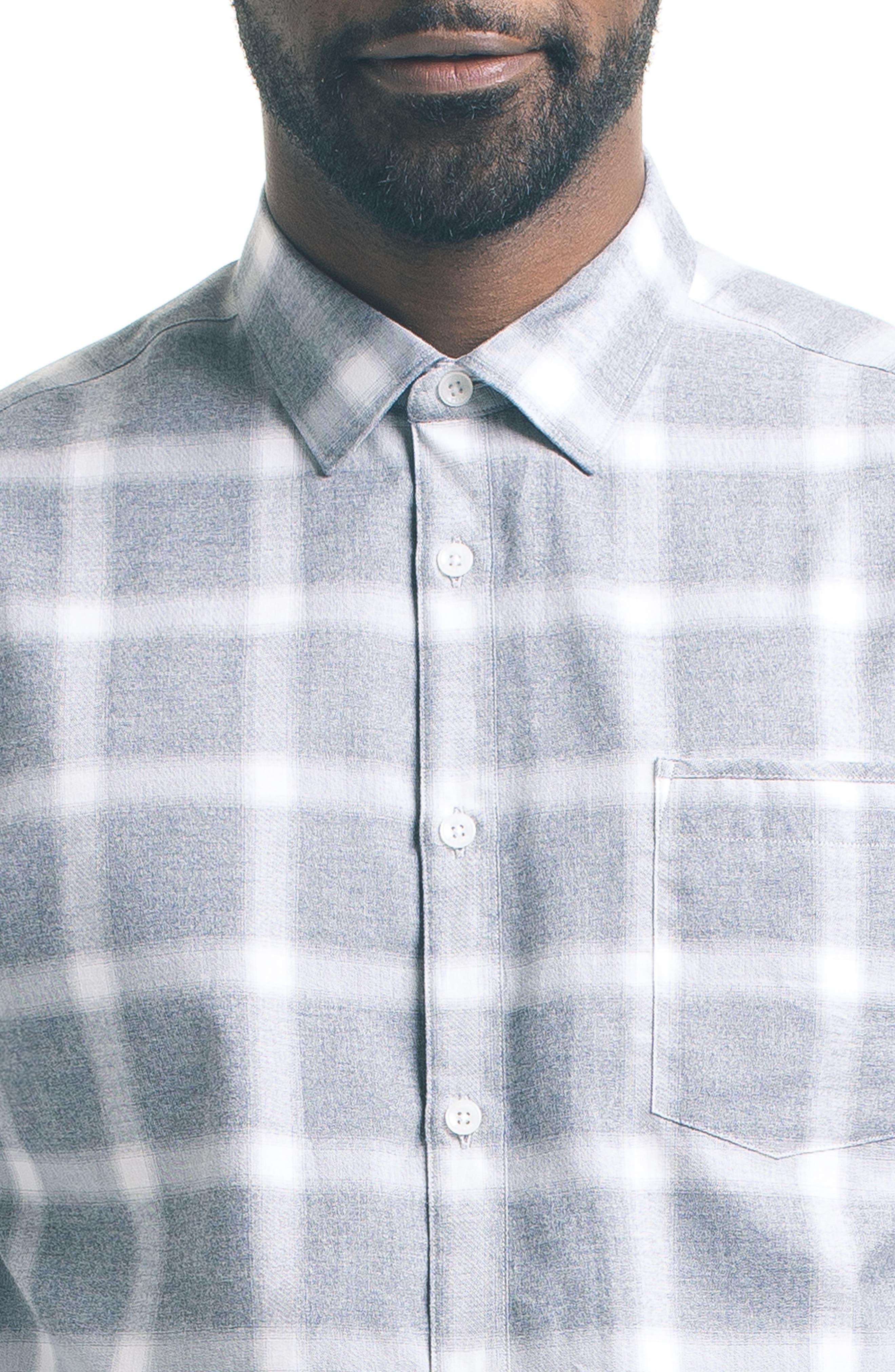 Slim Windowpane Sport Shirt,                             Alternate thumbnail 4, color,                             020