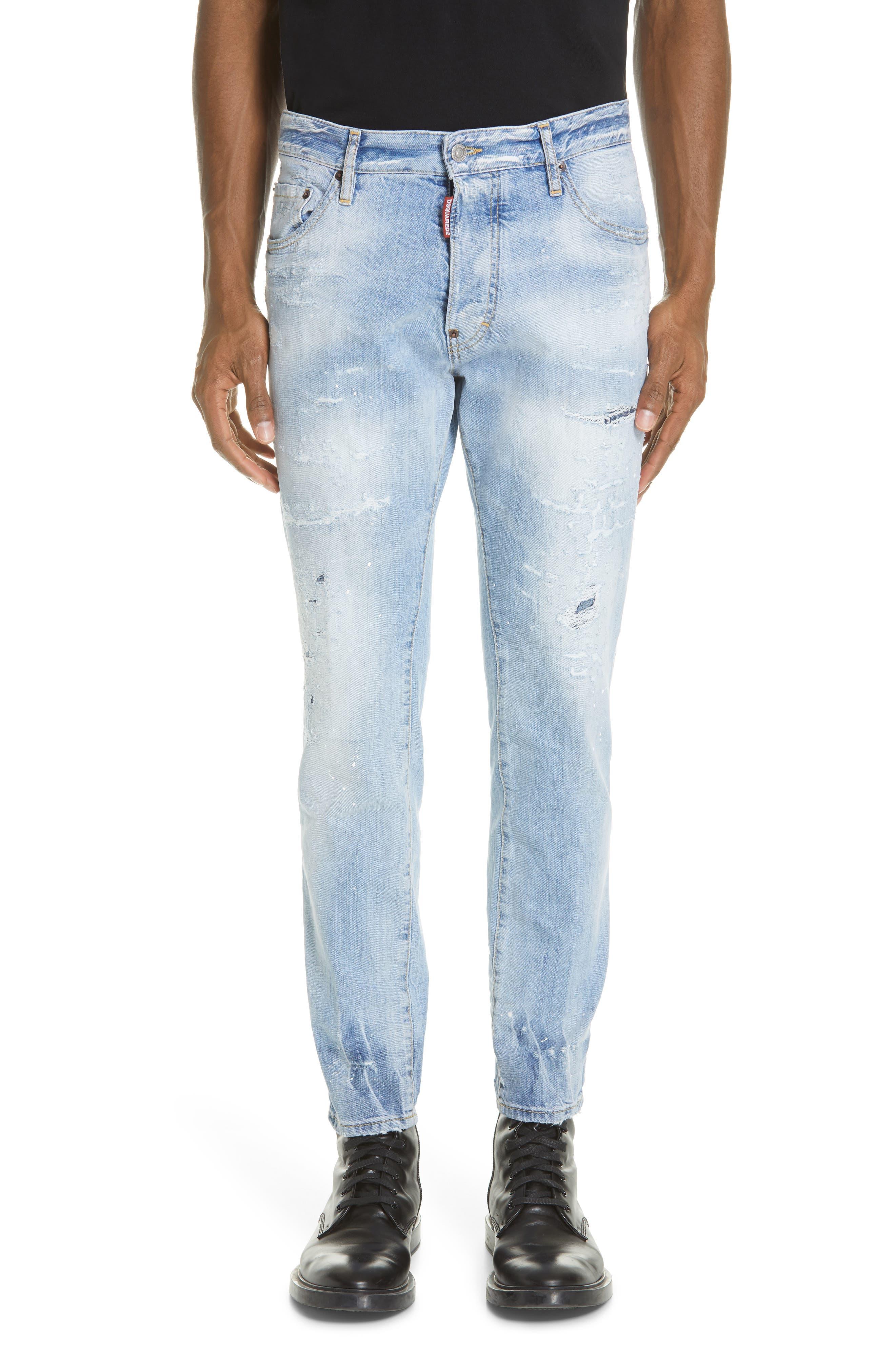 Light Wash Cigarette Fit Jeans, Main, color, BLUE