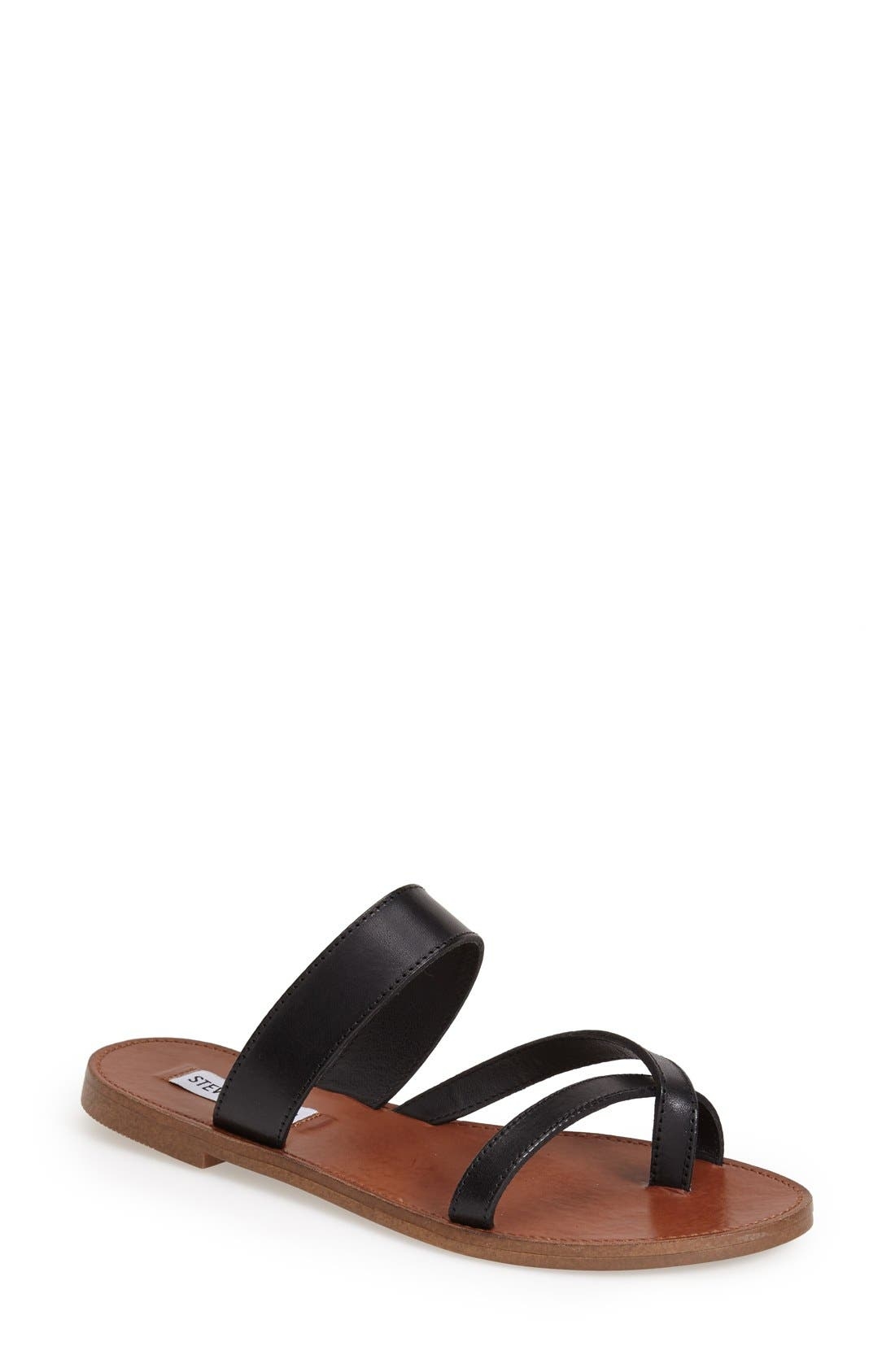 'Aintso' Strappy Leather Toe Ring Sandal,                             Main thumbnail 1, color,                             001
