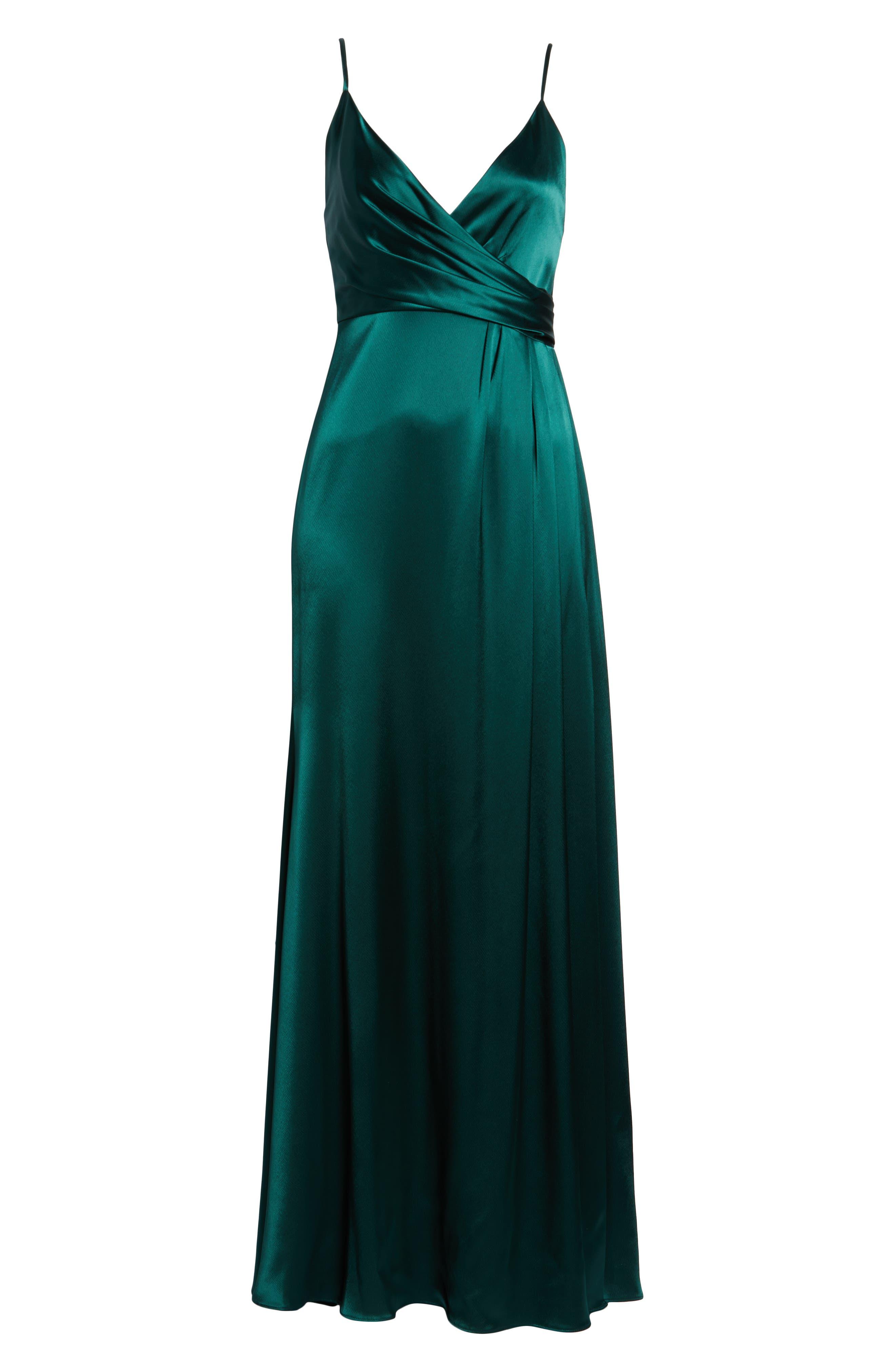 Faux Wrap Satin Gown,                             Alternate thumbnail 6, color,                             SPRUCE