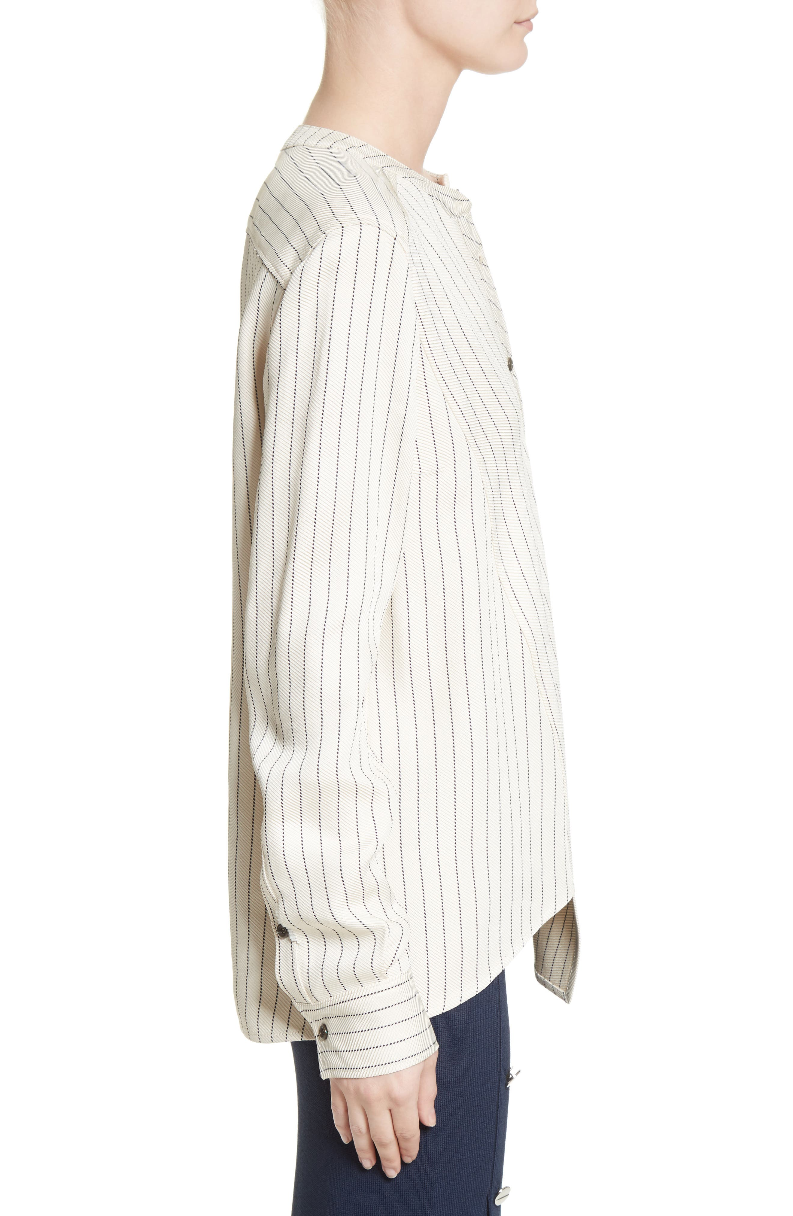 Asymmetrical Pinstripe Blouse,                             Alternate thumbnail 3, color,                             900