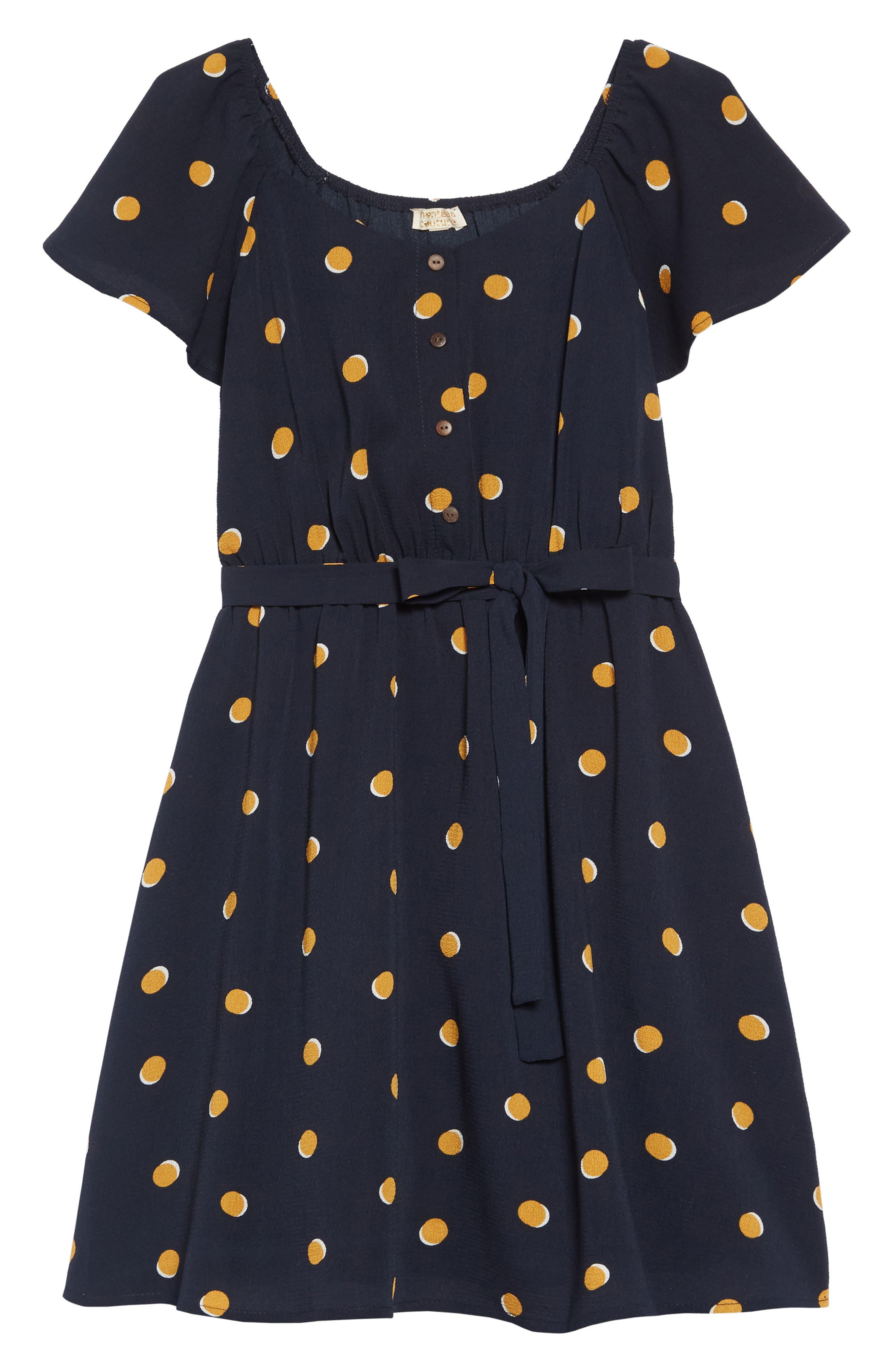 Polka Dot Flutter Sleeve Dress,                             Main thumbnail 1, color,                             NAVY/MUSTARD