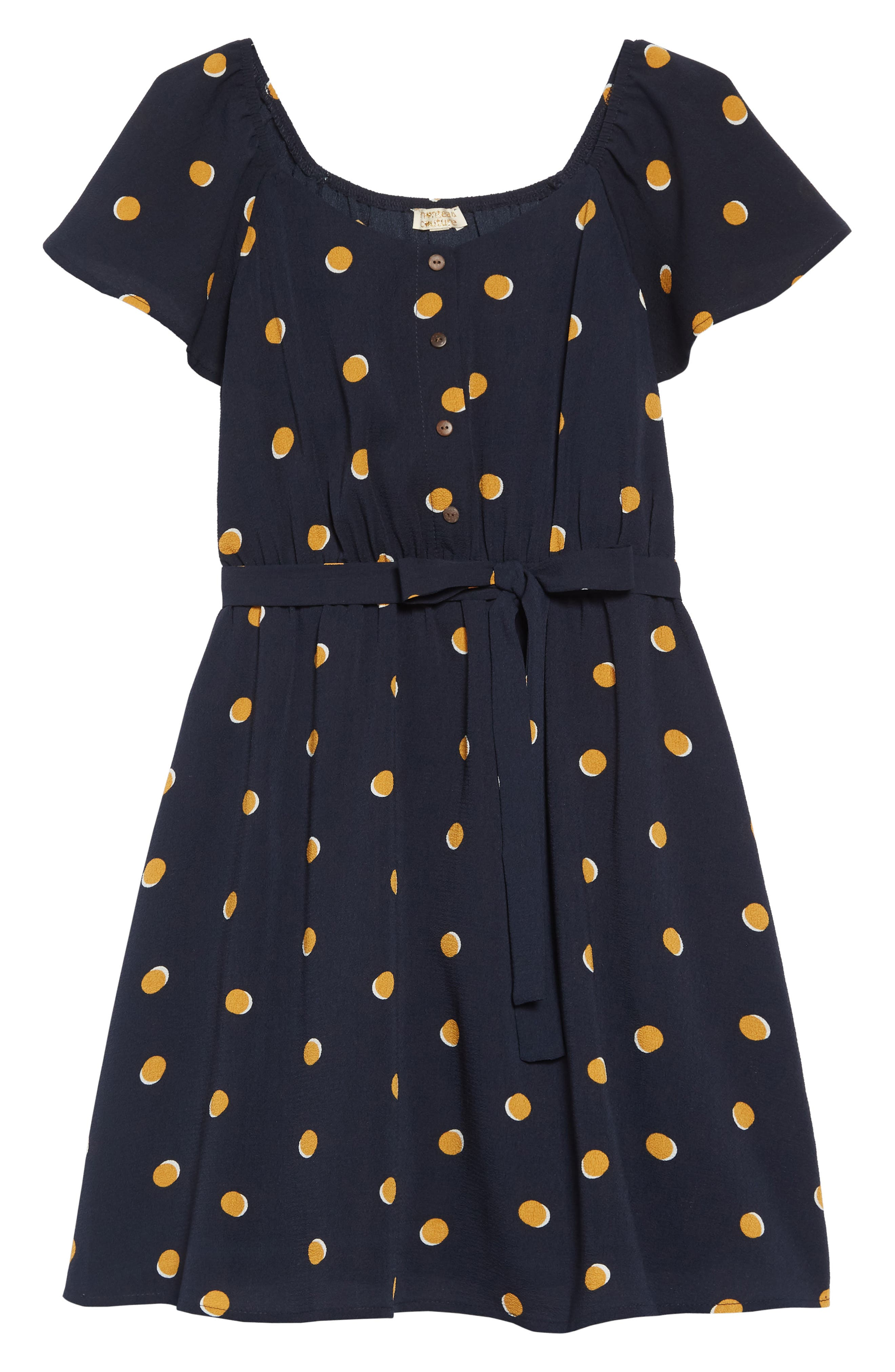 Polka Dot Flutter Sleeve Dress, Main, color, NAVY/MUSTARD