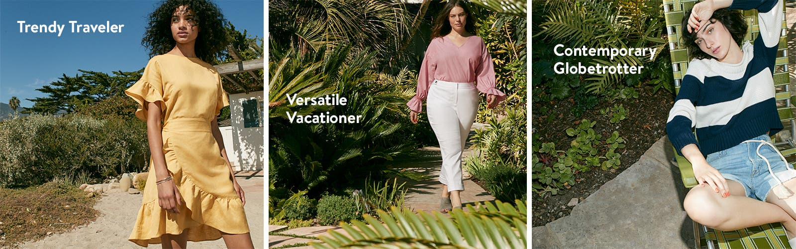 Women's vacation clothing, shoes and accessories.