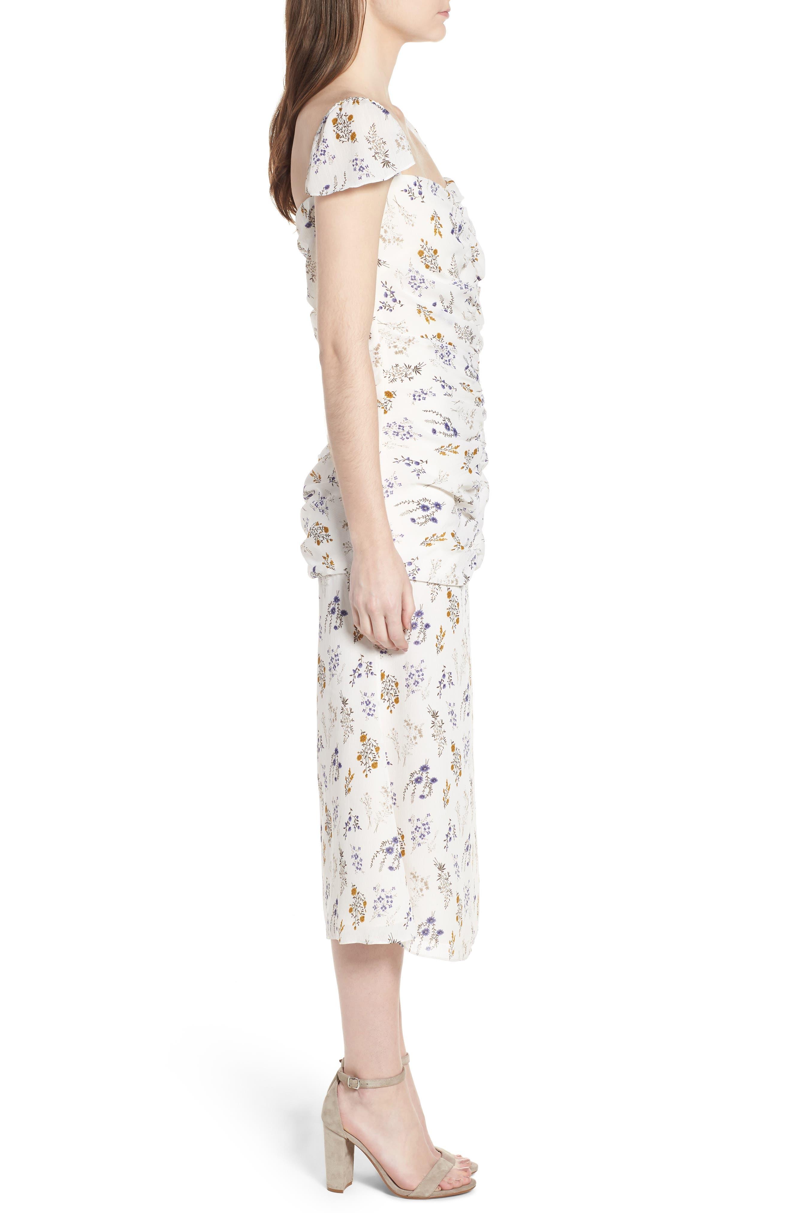 Bailey Midi Dress,                             Alternate thumbnail 3, color,                             100