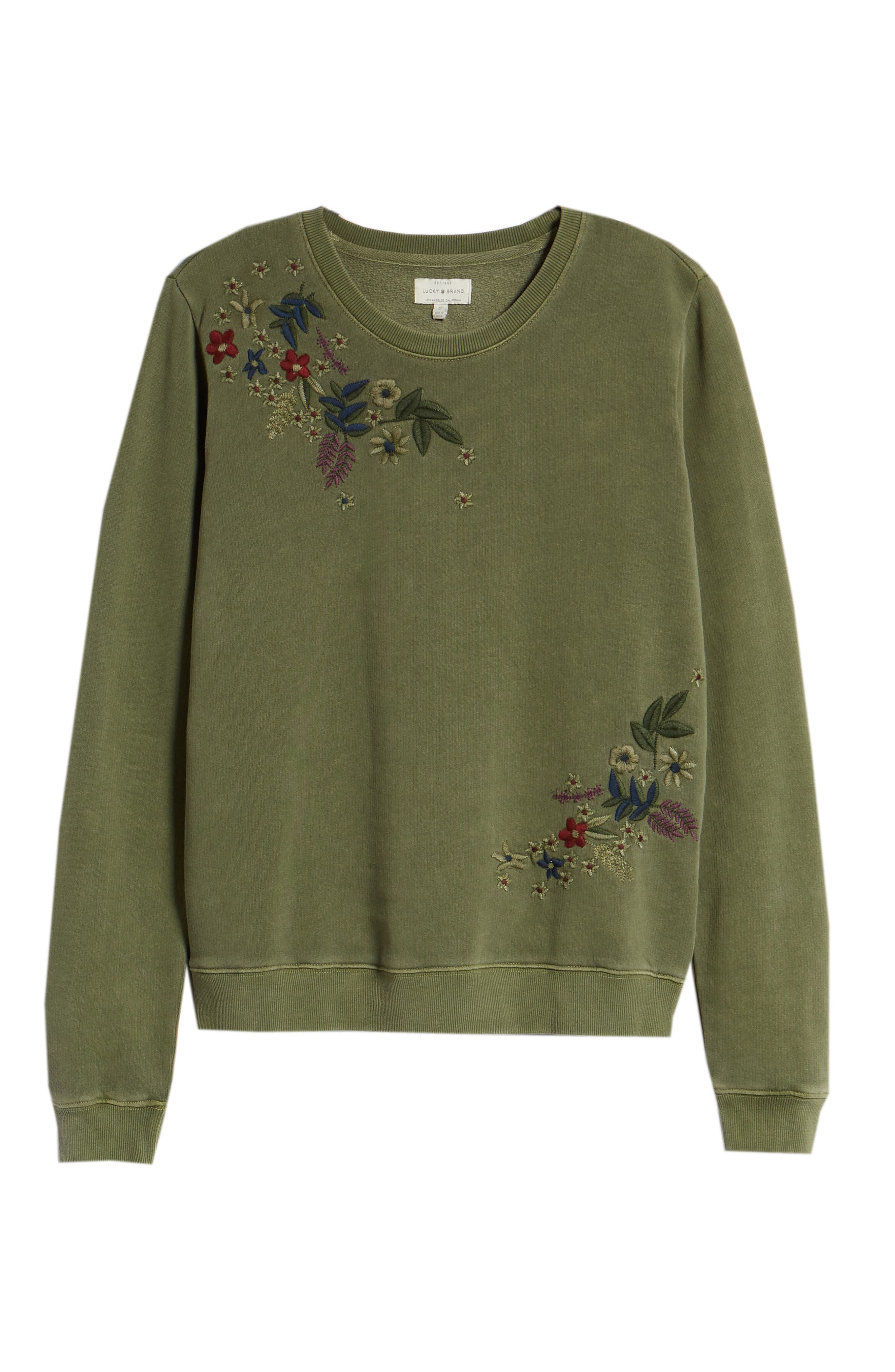 Embroidered Flowers Sweatshirt,                             Alternate thumbnail 6, color,                             OLIVE KNIT