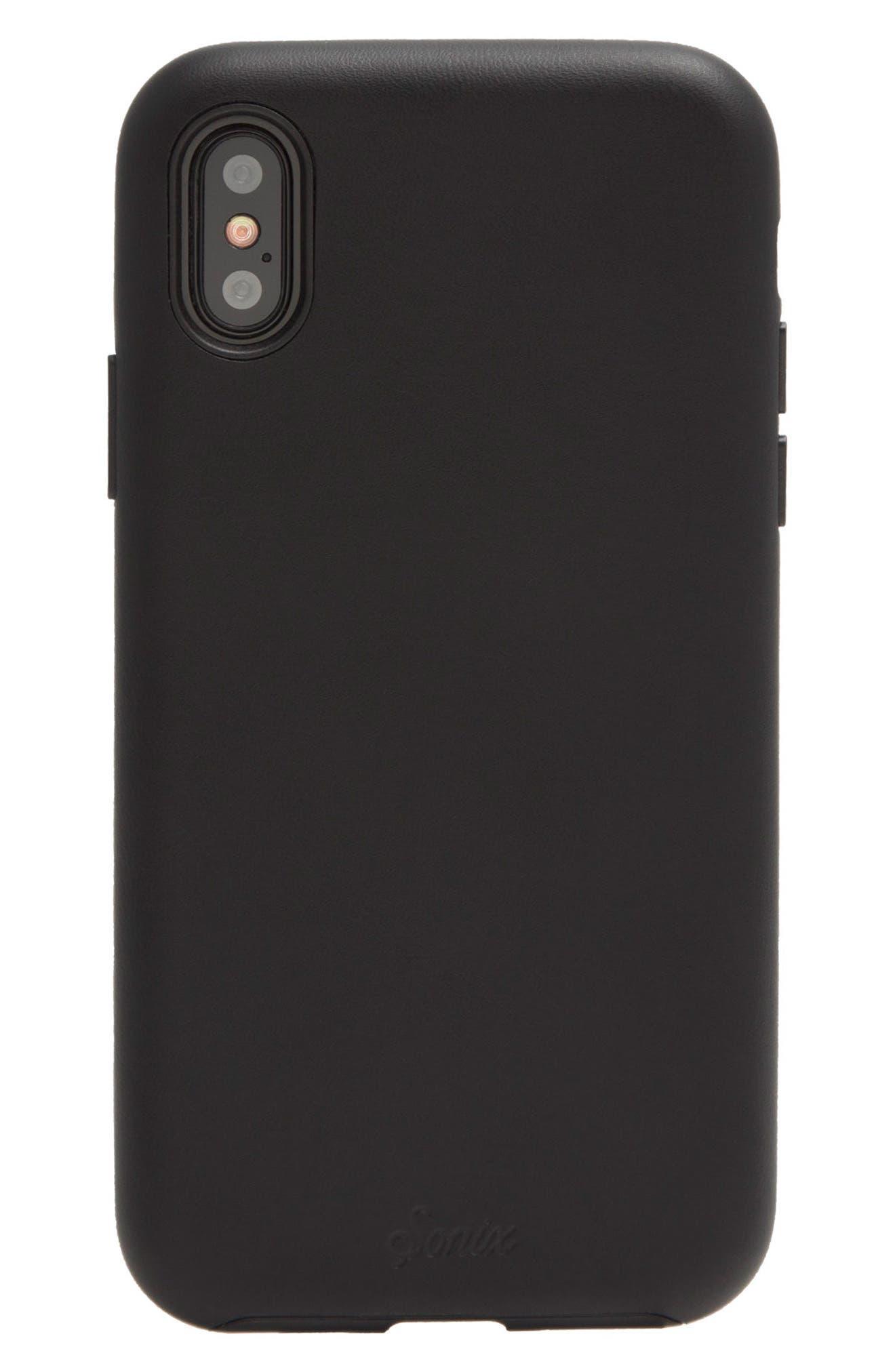 Faux Leather iPhone X Case,                             Alternate thumbnail 3, color,                             001