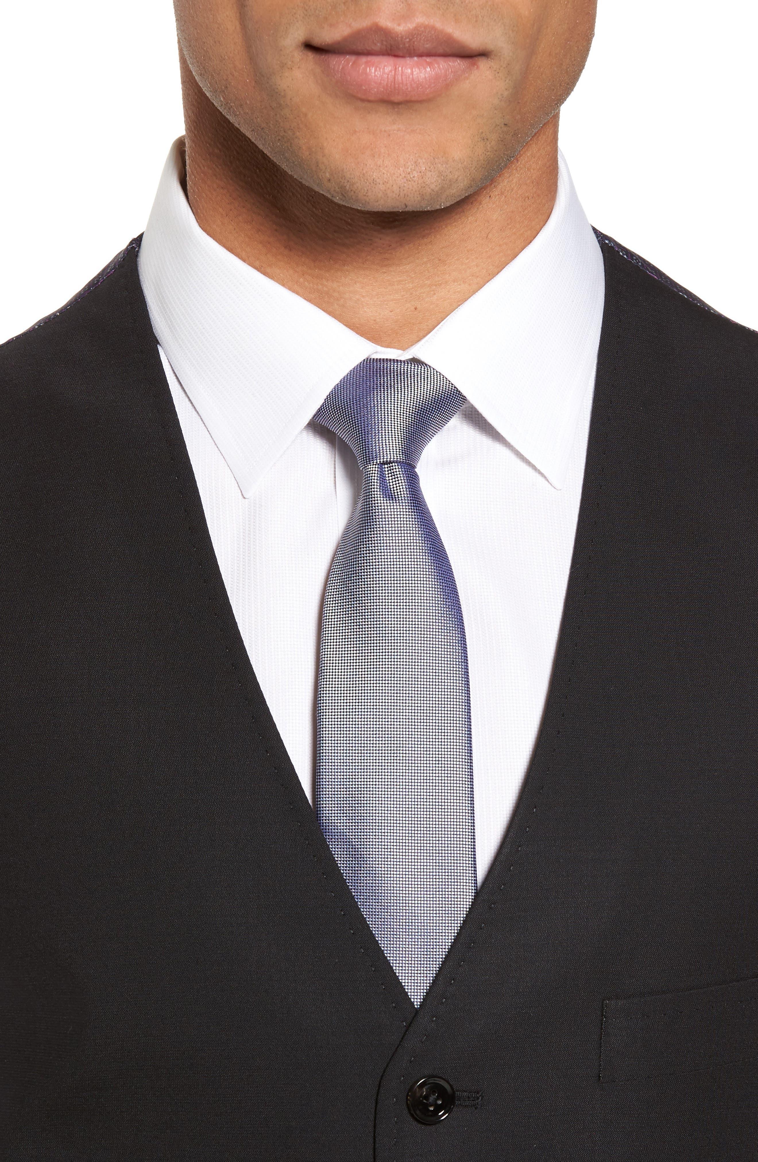 Trim Fit Solid Wool Vest,                             Alternate thumbnail 4, color,                             BLACK