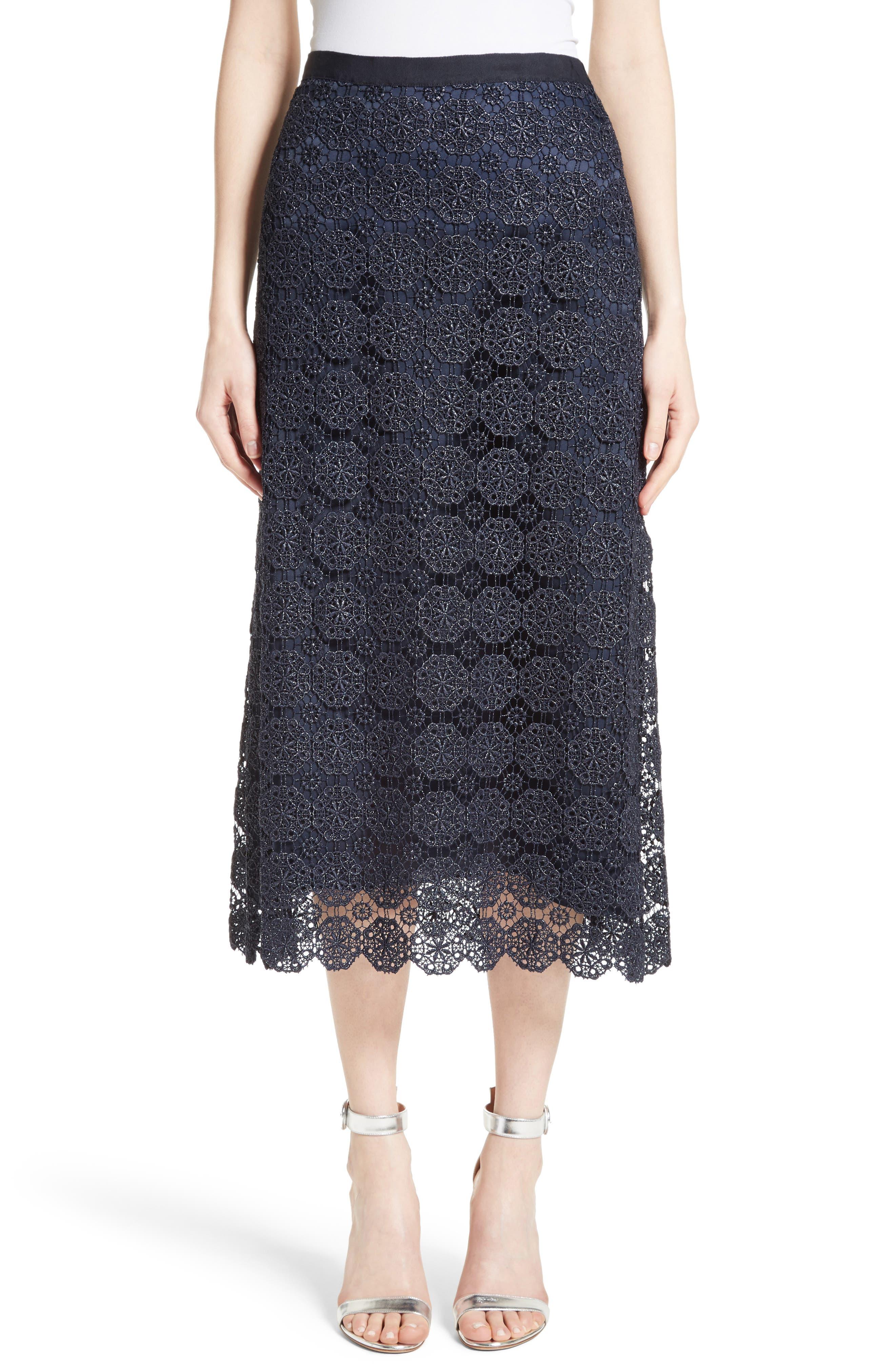 Metallic Guipure Lace Skirt,                         Main,                         color, 410