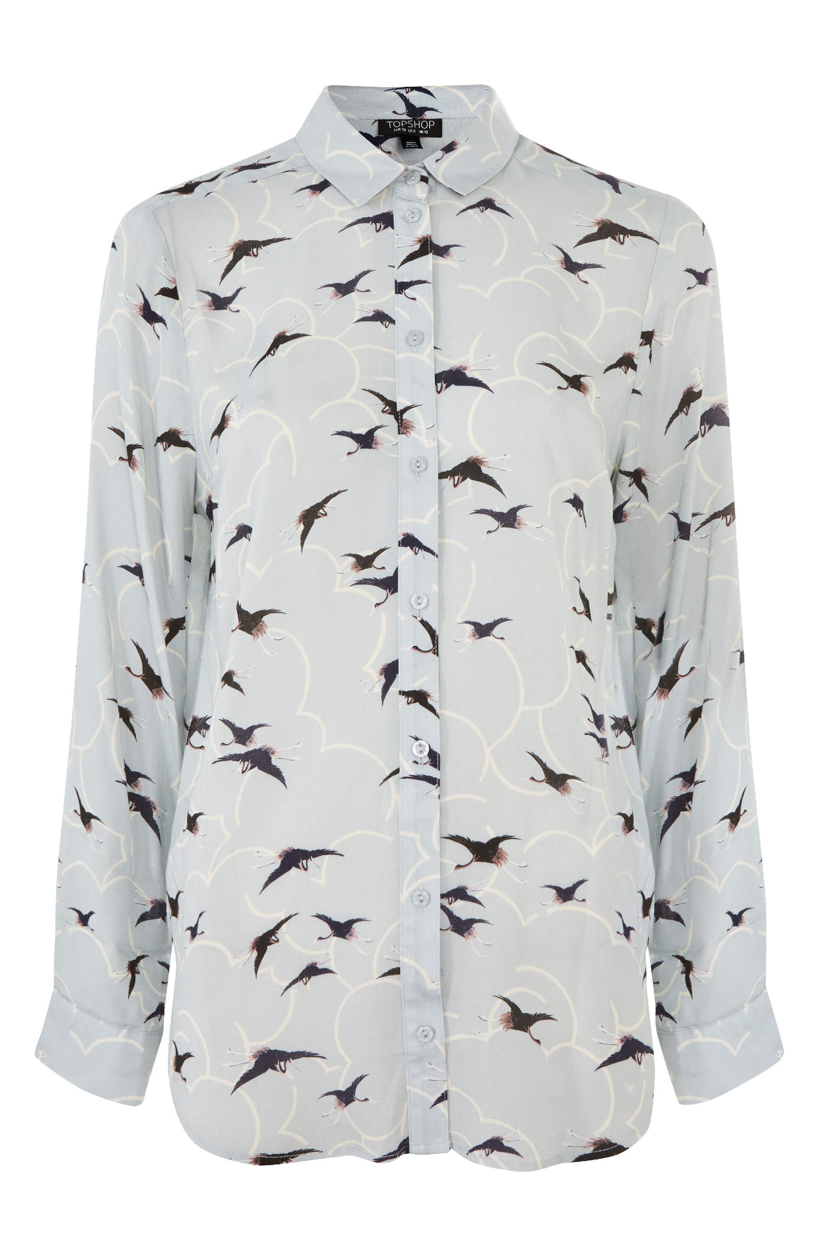 Birds & Clouds Button Down Shirt,                             Alternate thumbnail 3, color,