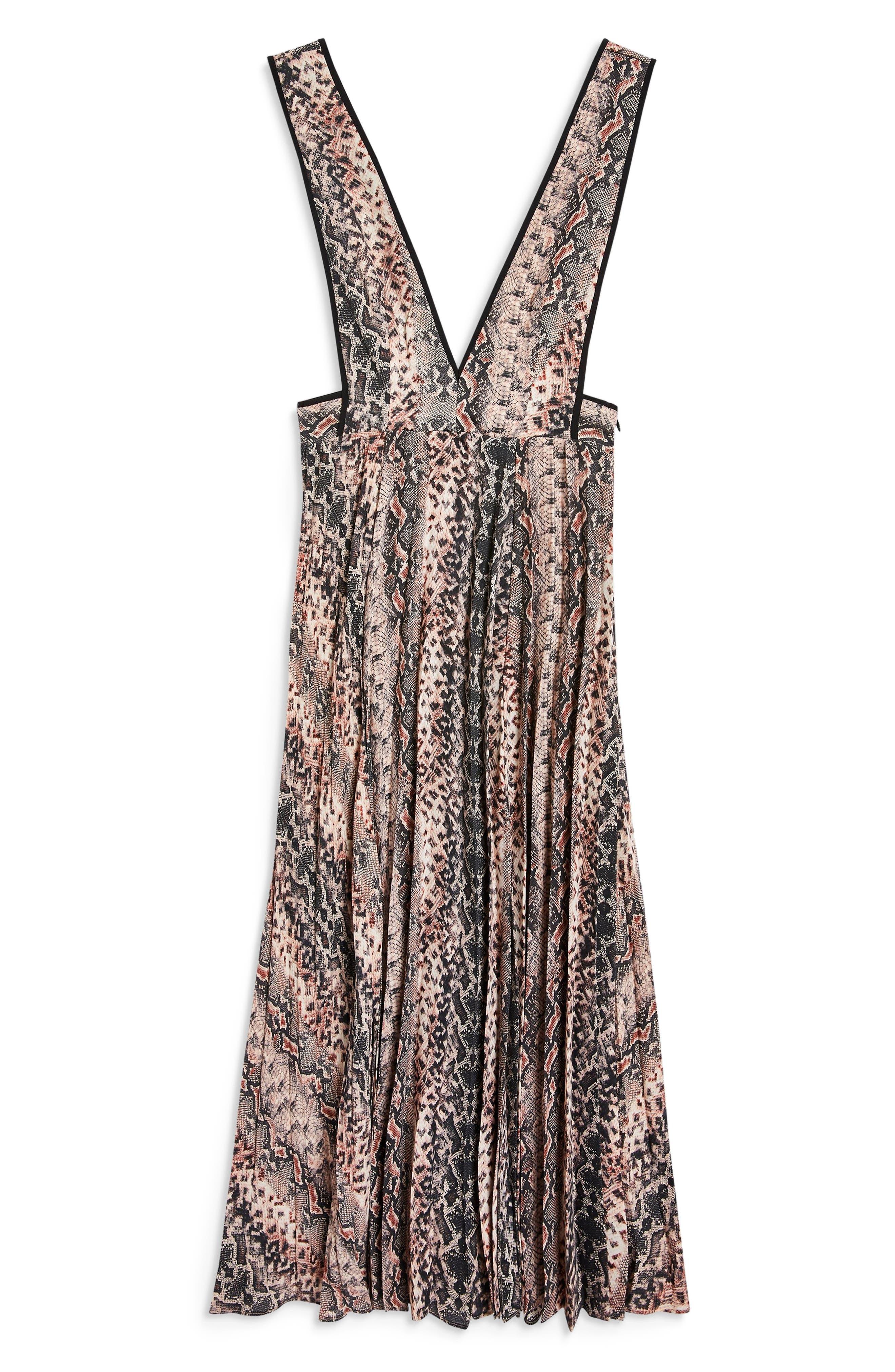 Snake Print Pleated Dress,                             Alternate thumbnail 4, color,                             PINK MULTI