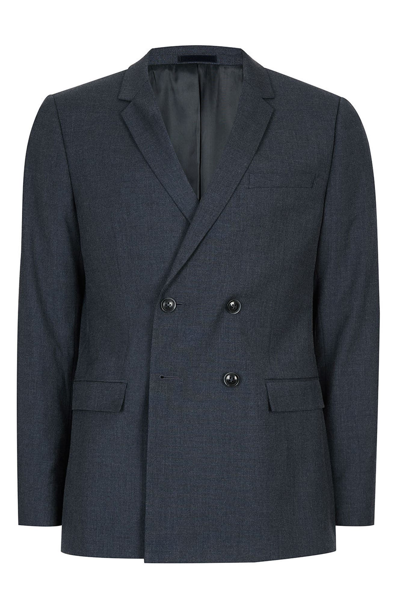 Skinny Fit Double Breasted Suit Jacket,                             Alternate thumbnail 4, color,                             410