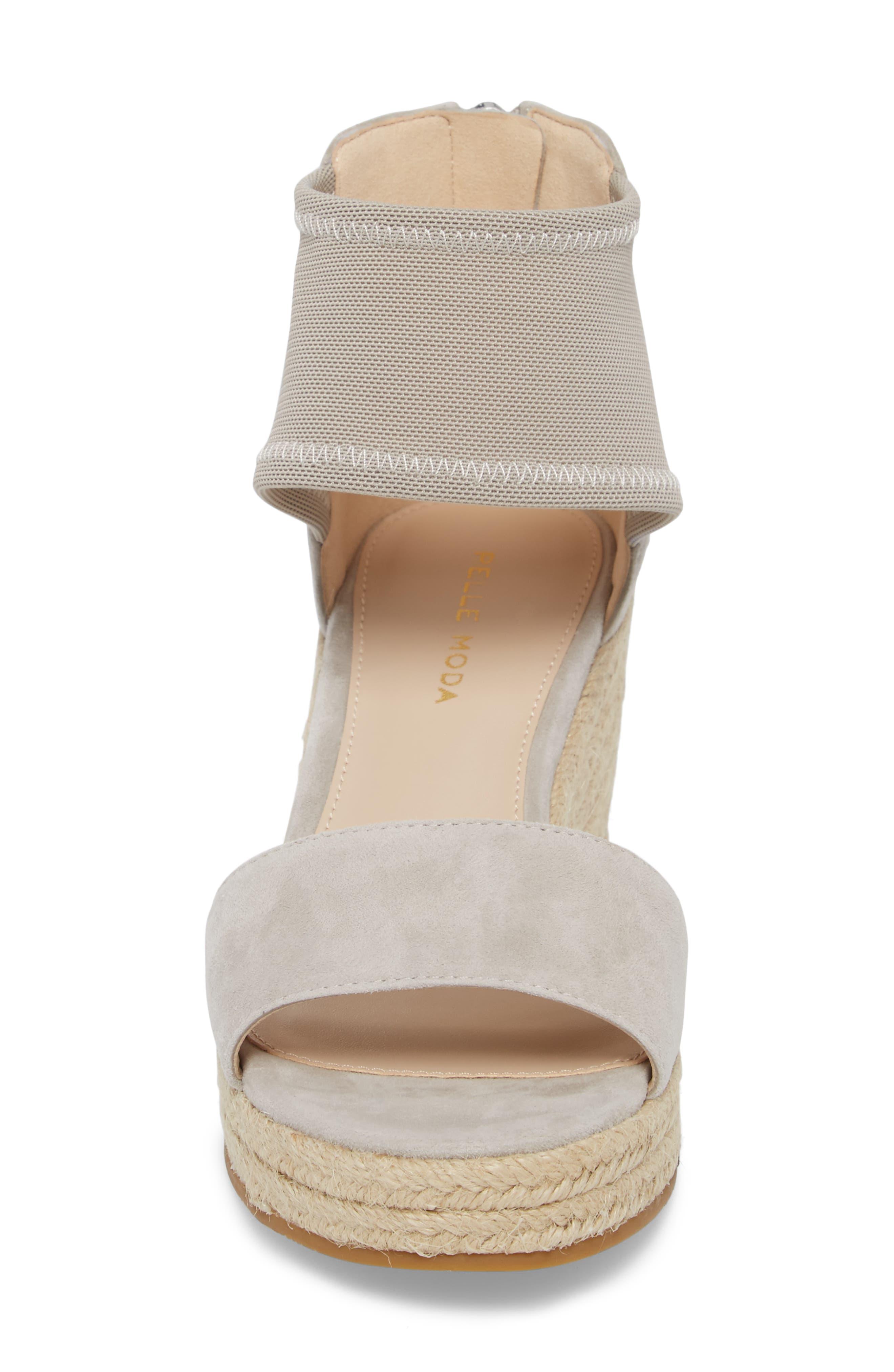 Kona Platform Wedge Sandal,                             Alternate thumbnail 4, color,                             CLOUD SUEDE