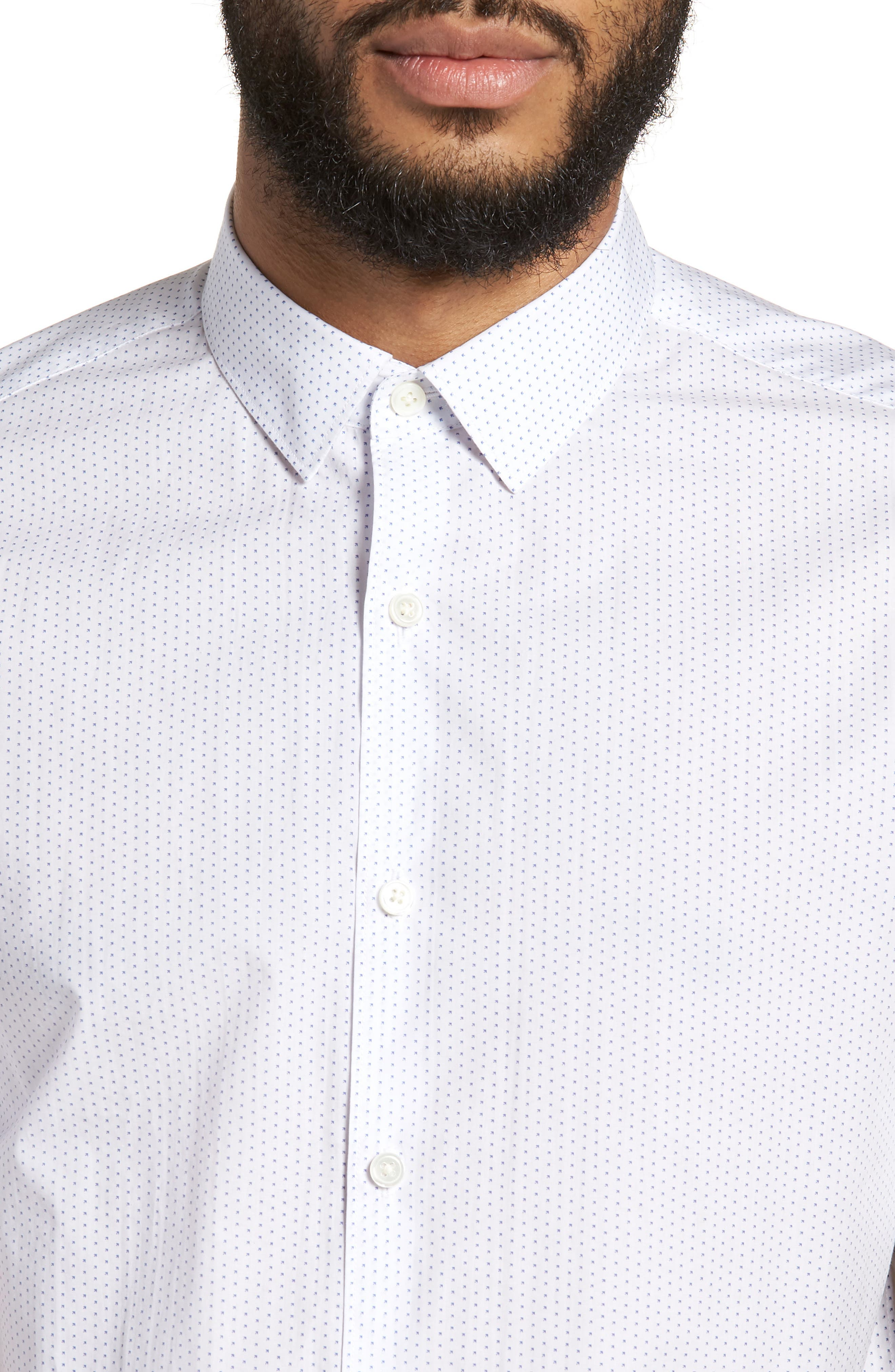 Murrary Trim Fit Dot Short Sleeve Sport Shirt,                             Alternate thumbnail 4, color,                             100