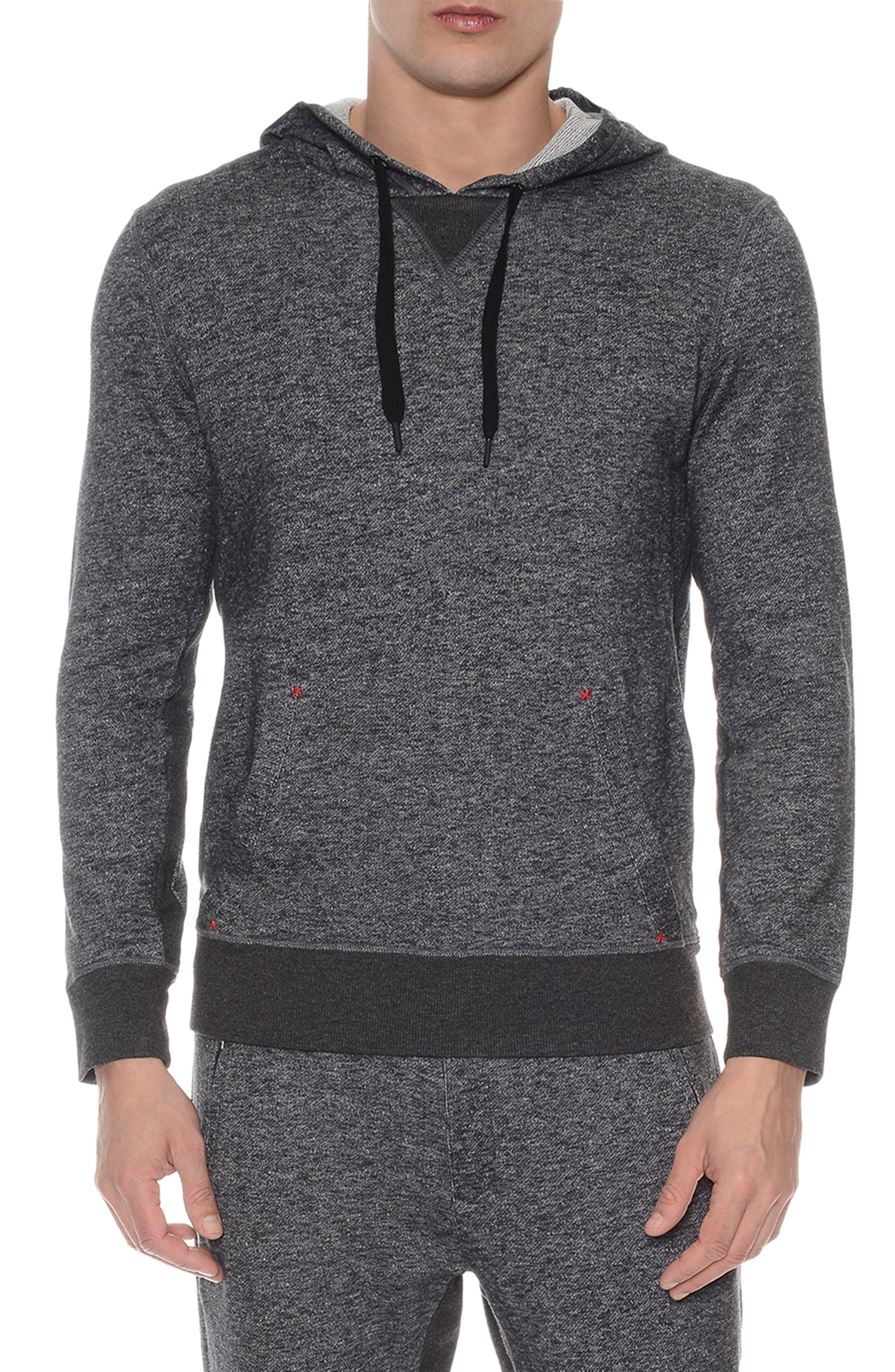 Hooded Pullover,                         Main,                         color, BLACK HEATHER