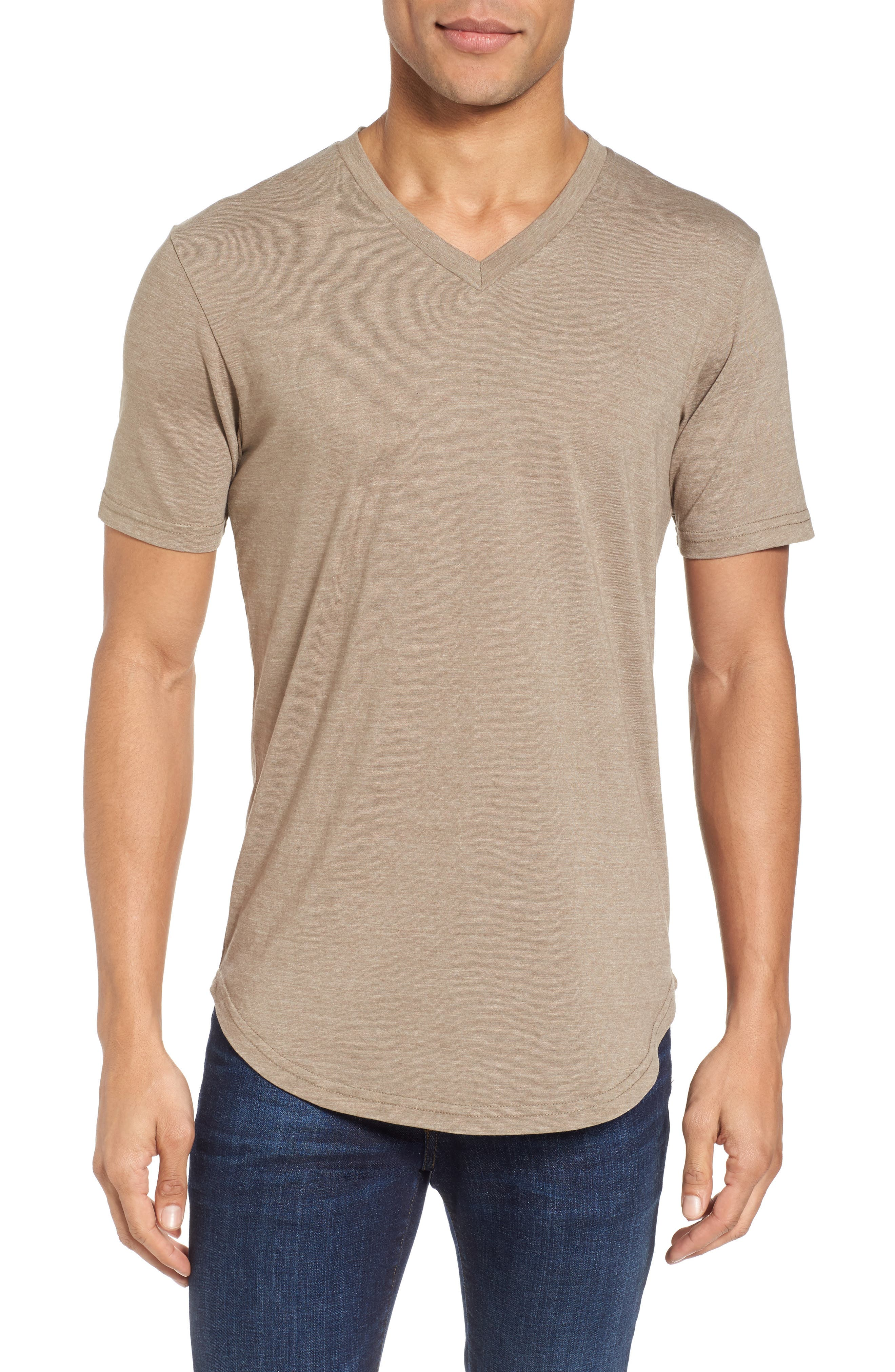 Scallop Triblend V-Neck T-Shirt,                             Main thumbnail 2, color,
