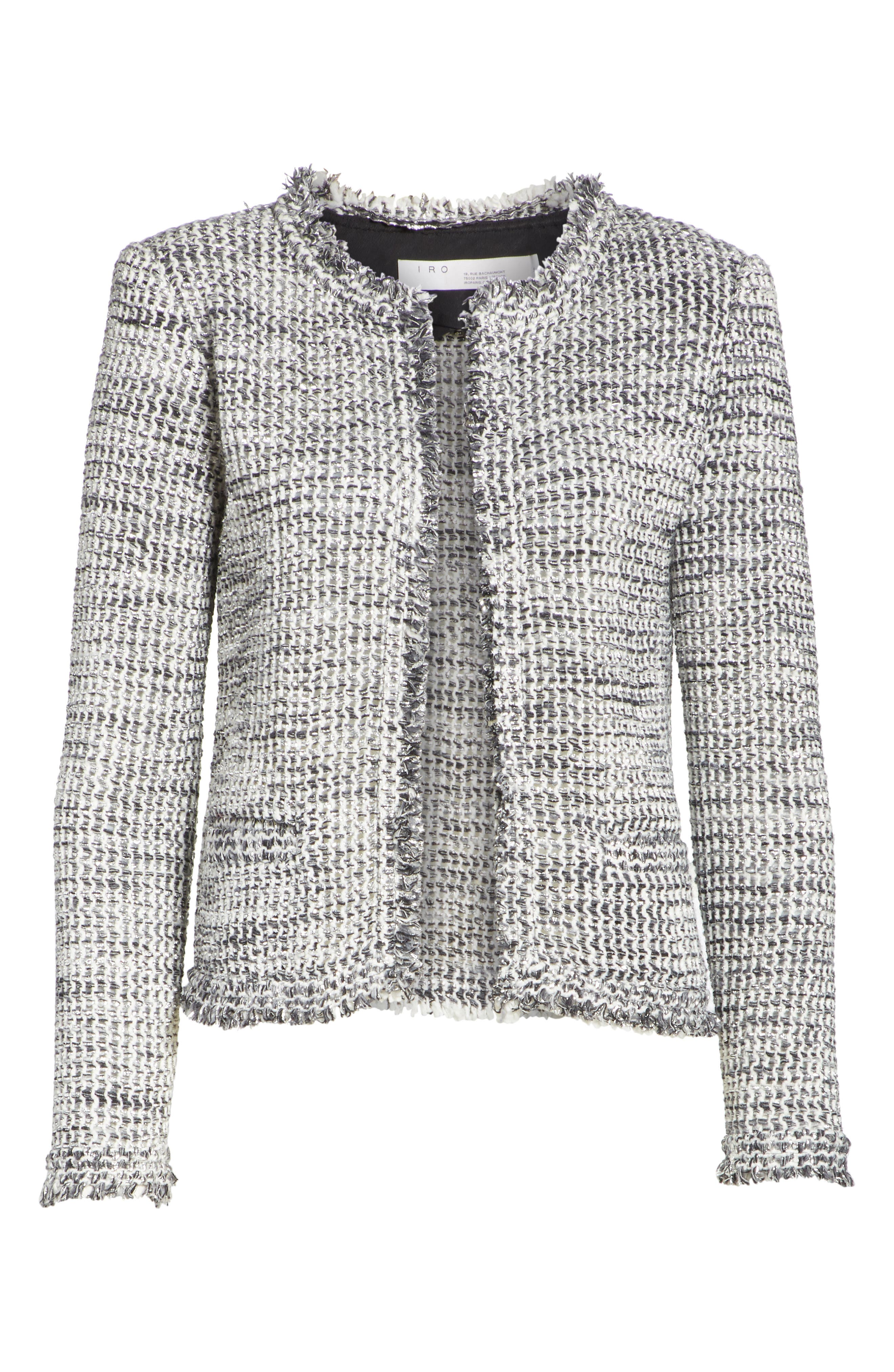 Unplug Metallic Tweed Jacket,                             Alternate thumbnail 5, color,                             GREY