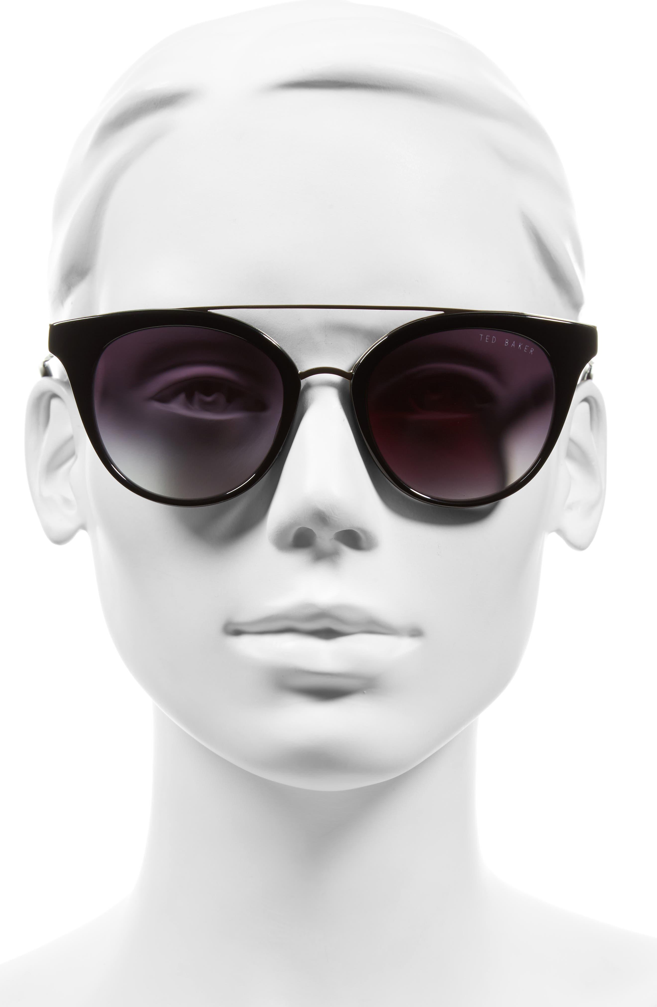 51mm Gradient Lens Round Retro Sunglasses,                             Alternate thumbnail 2, color,                             001