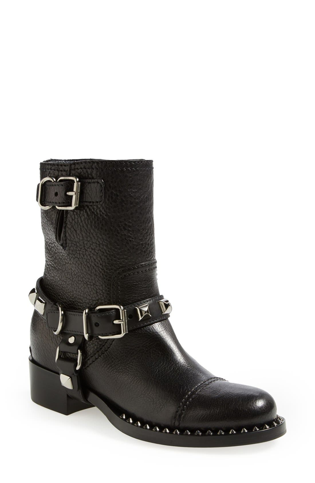 Studded Harness Moto Boot,                         Main,                         color, 001