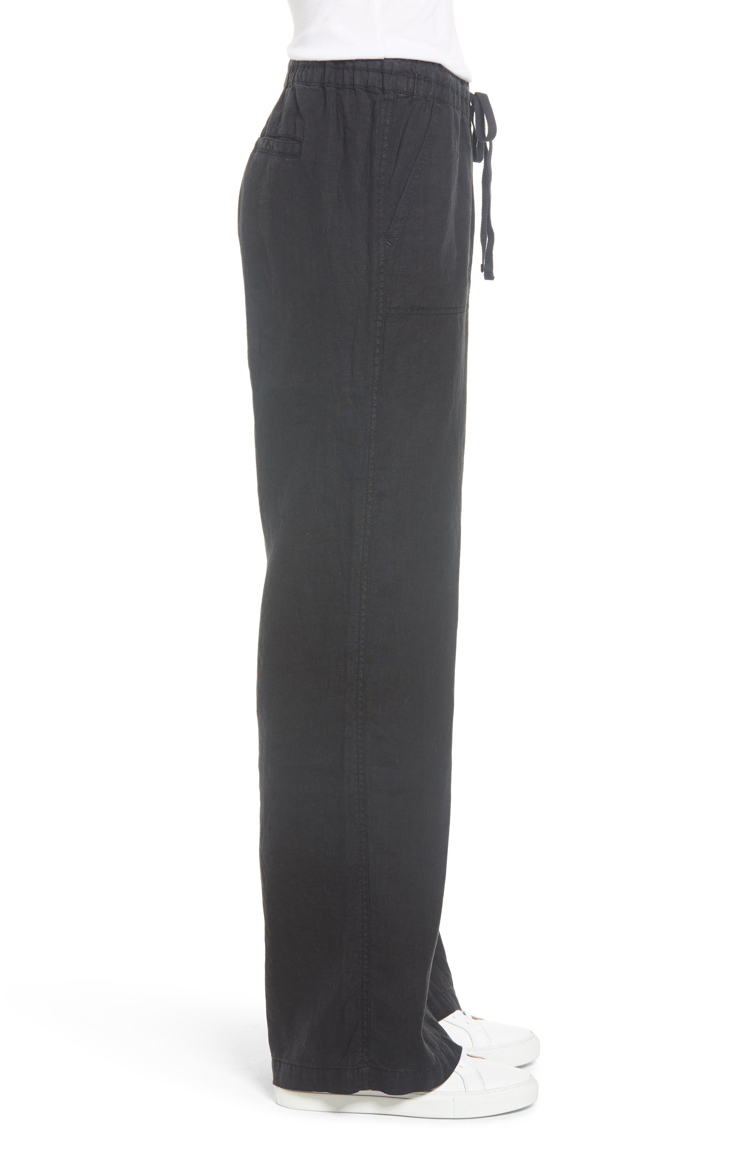 Linen Pants,                             Alternate thumbnail 3, color,                             BLACK