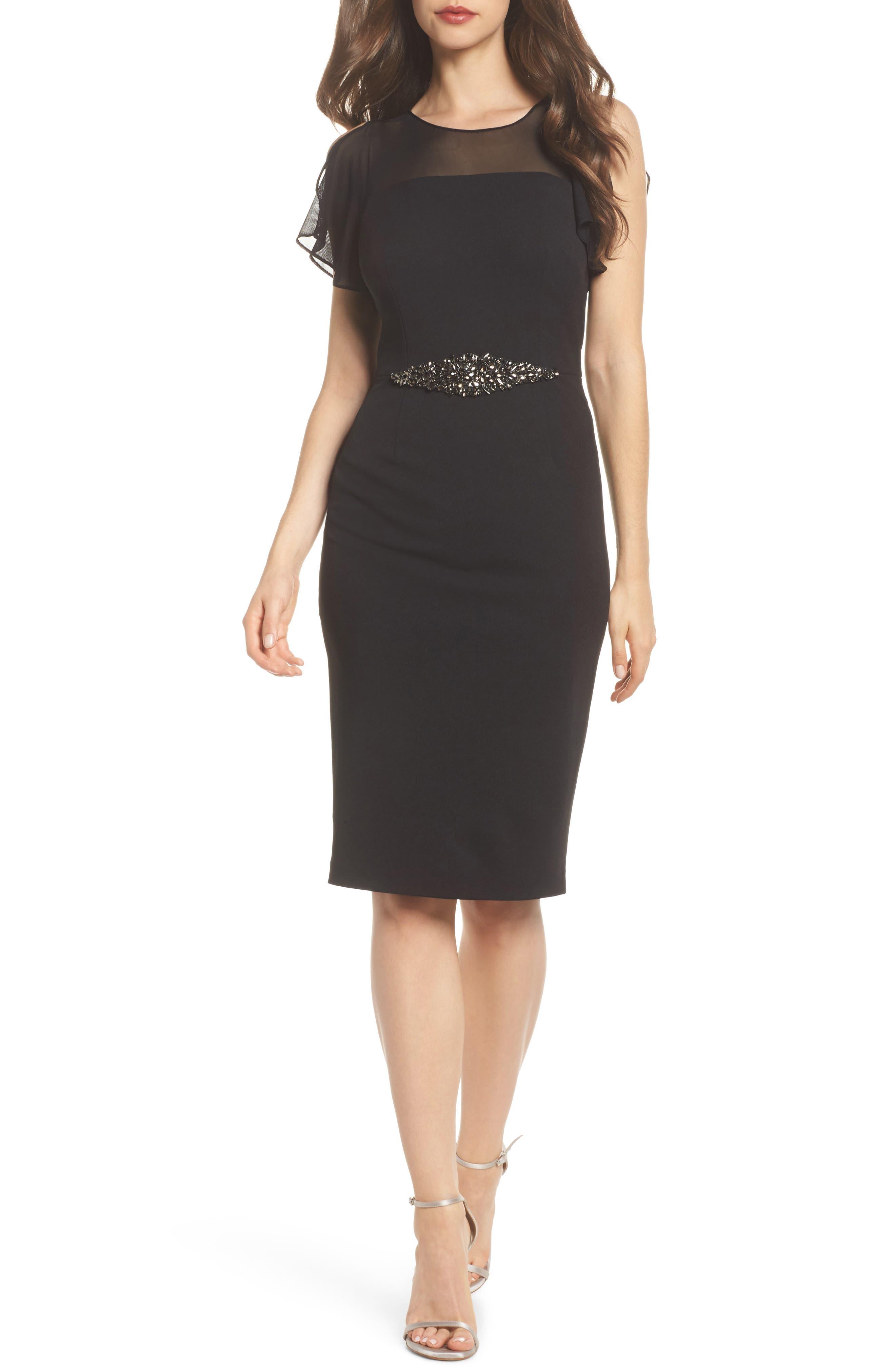 Embellished Crepe Sheath Dress,                         Main,                         color, 002