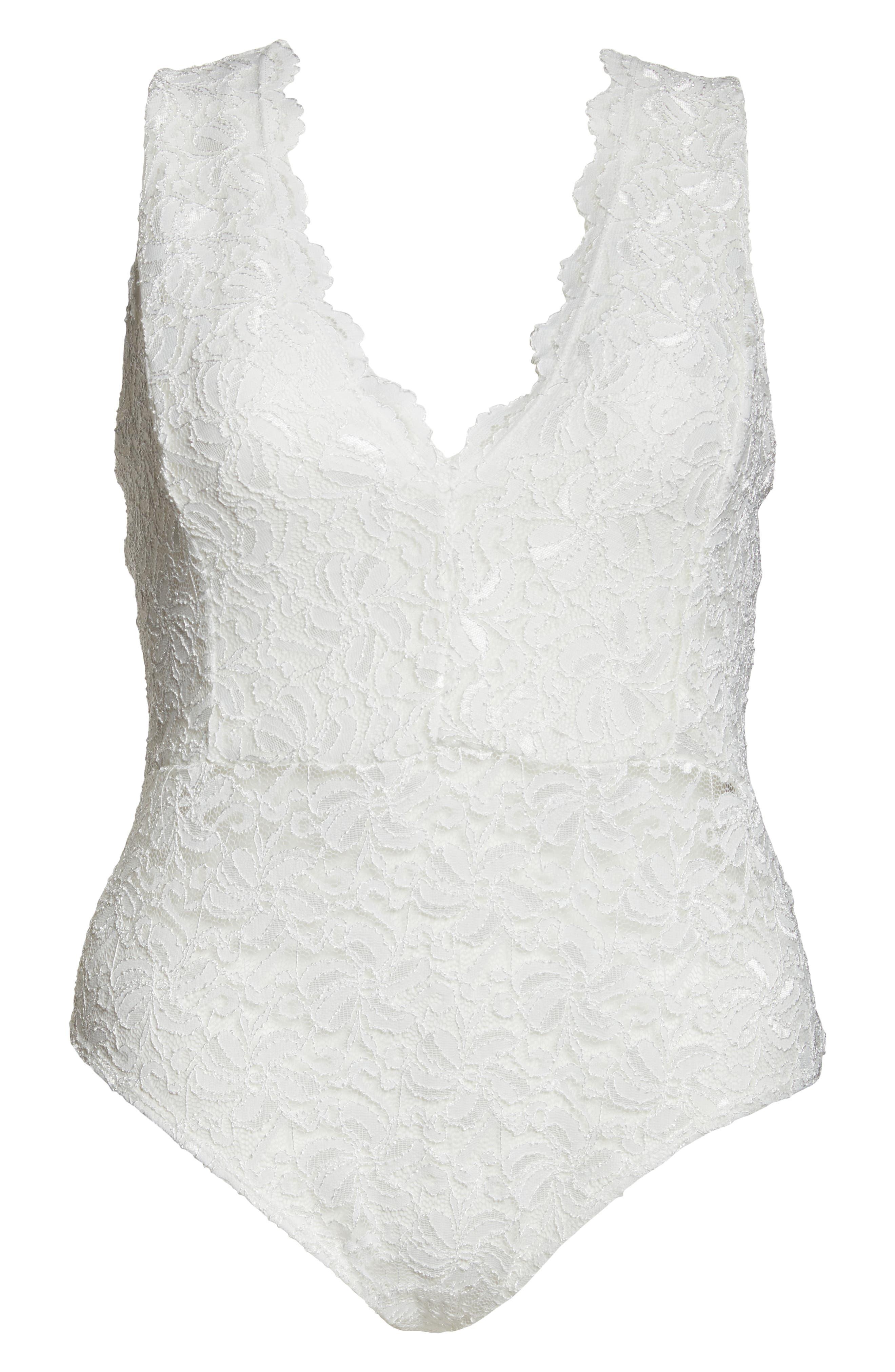 Plunge Neck Lace Bodysuit,                             Alternate thumbnail 6, color,                             IVORY