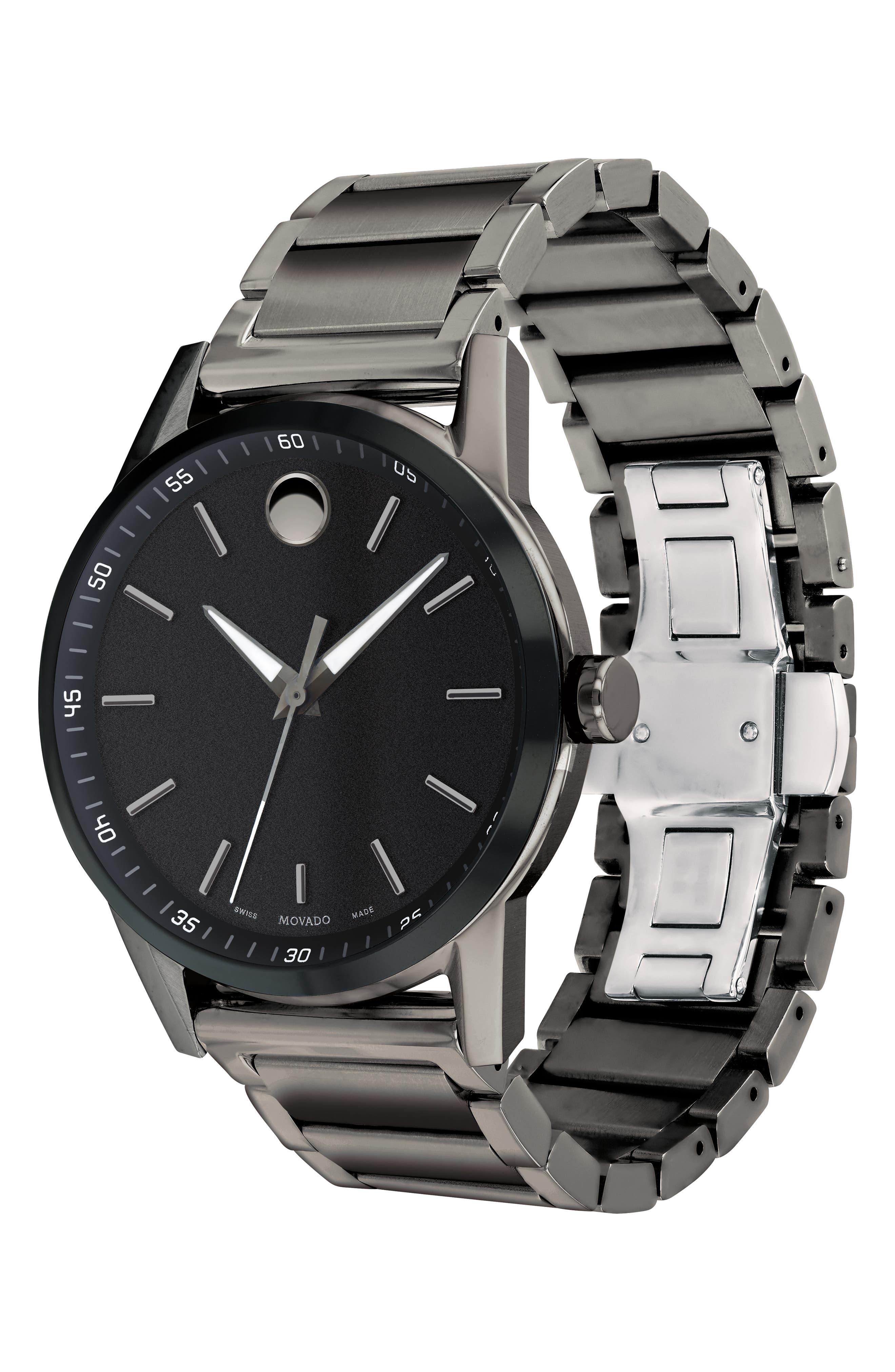 MOVADO,                             Museum Sport Bracelet Watch, 42mm,                             Alternate thumbnail 3, color,                             GUNMETAL/ BLACK