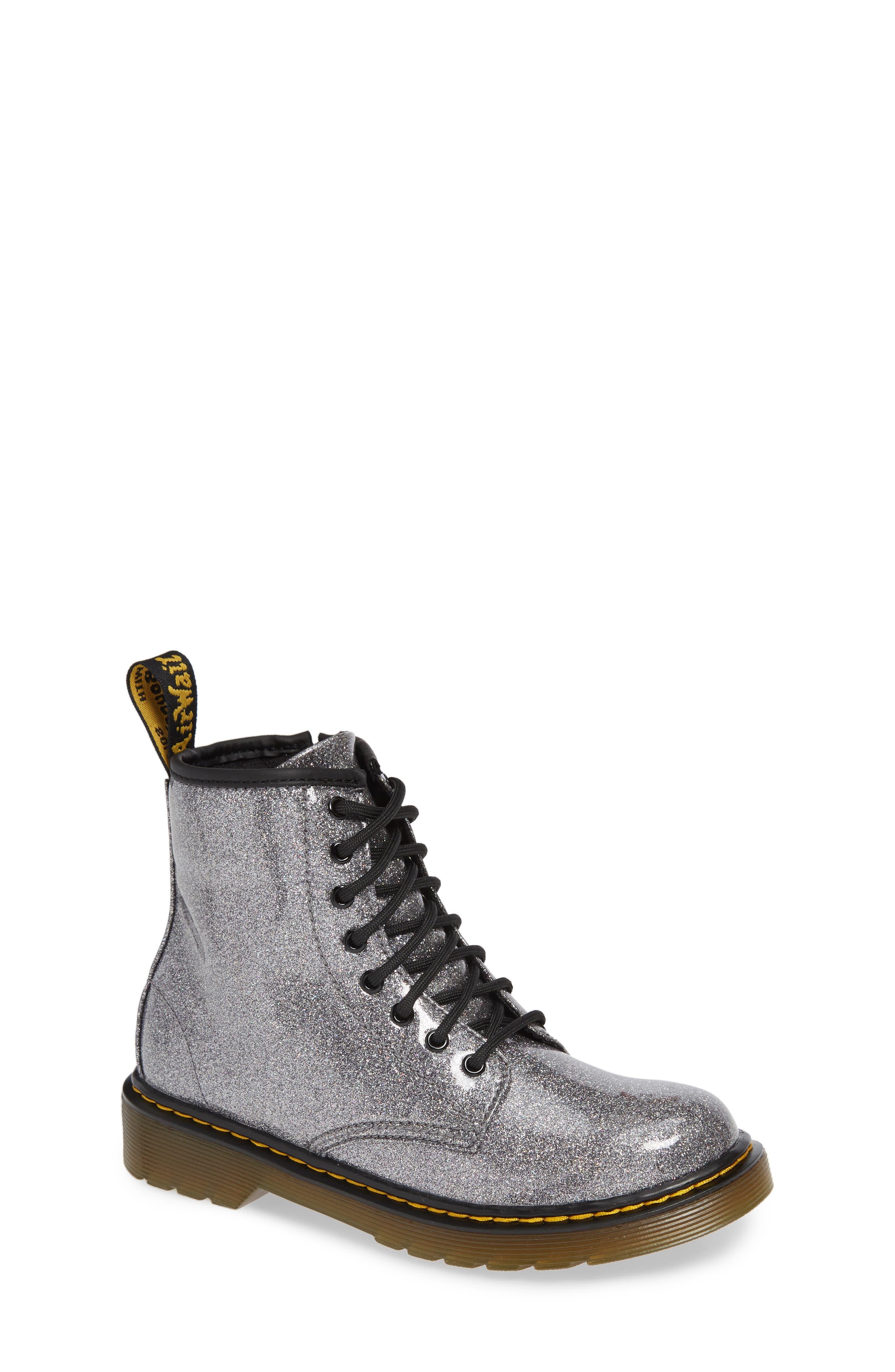 1460 Glitter Boot,                         Main,                         color, GUNMETAL