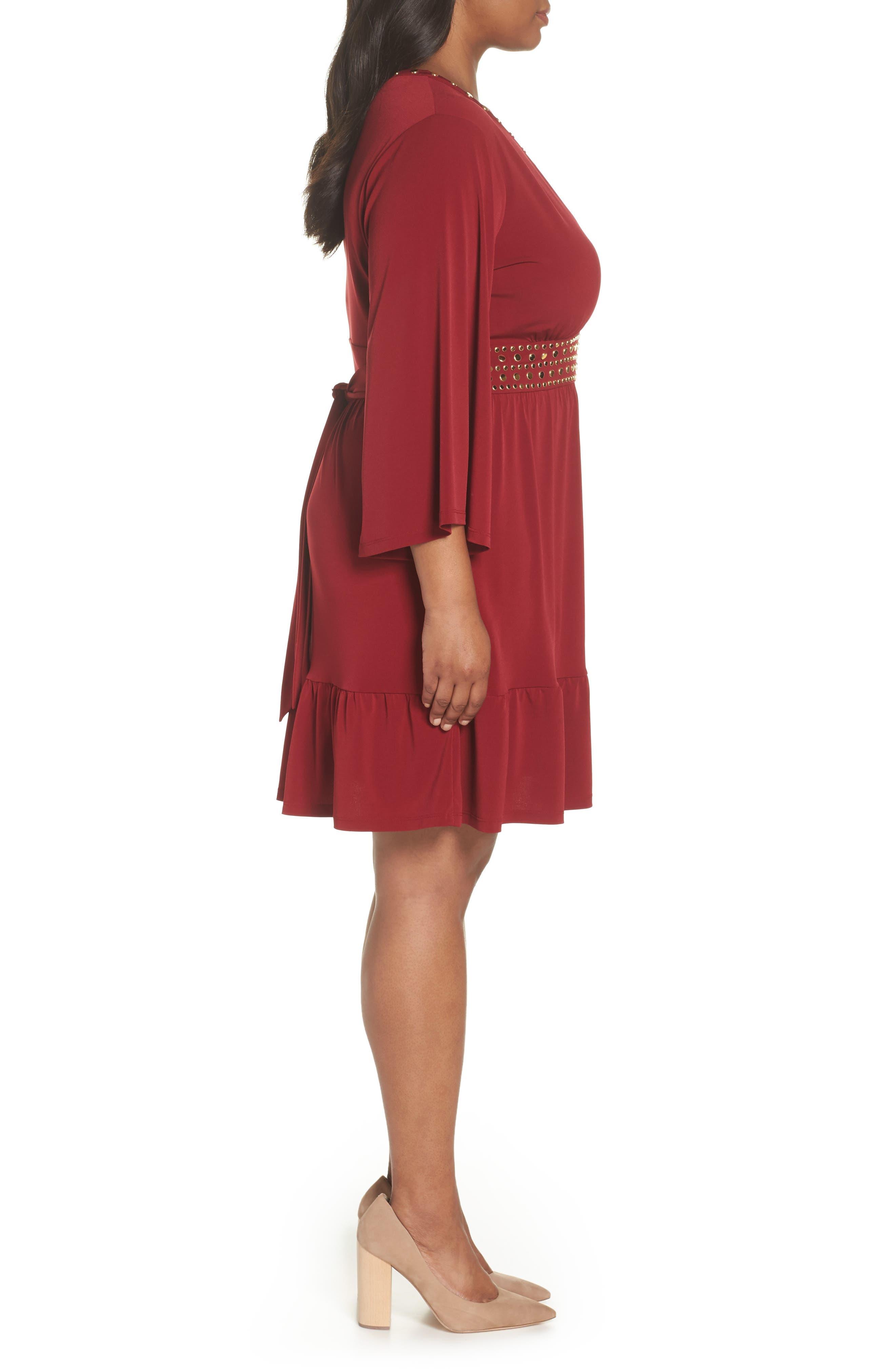 Studded V-Neck Dress,                             Alternate thumbnail 3, color,                             MAROON
