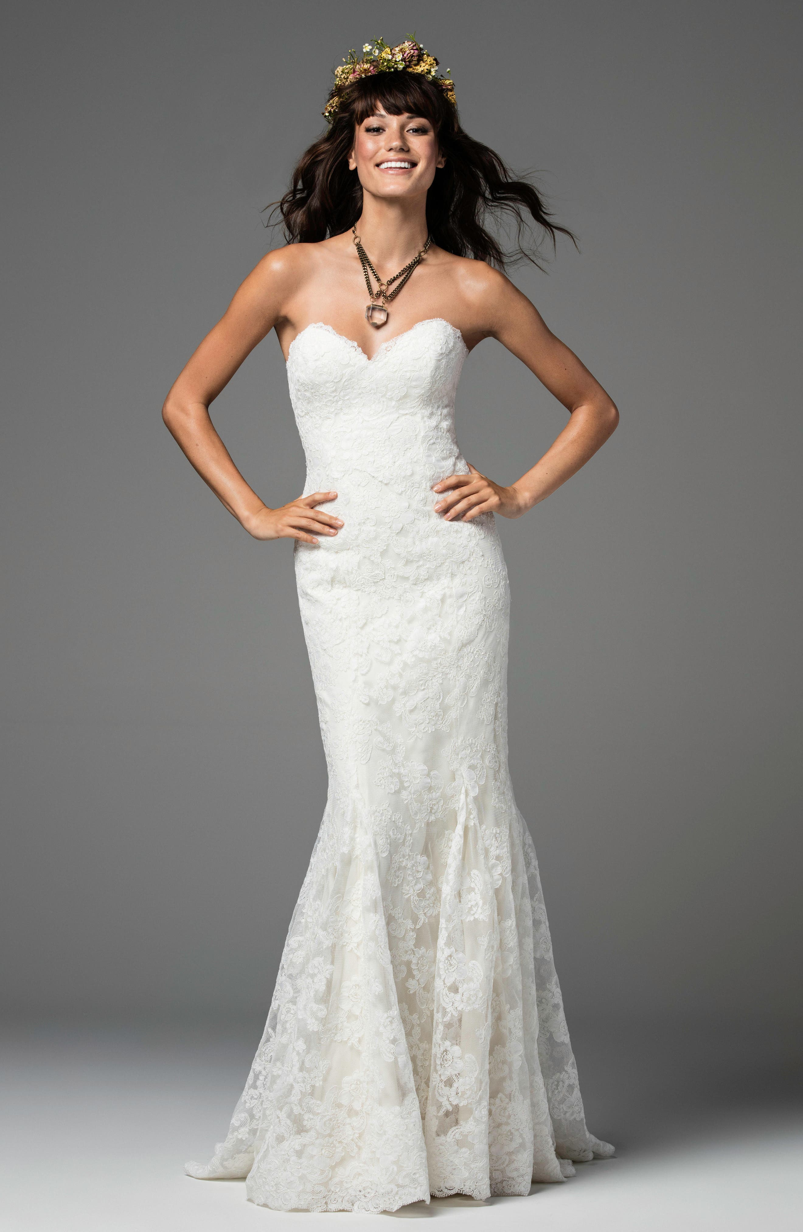 Liesel Strapless Lace Mermaid Gown,                             Alternate thumbnail 3, color,                             IVORY